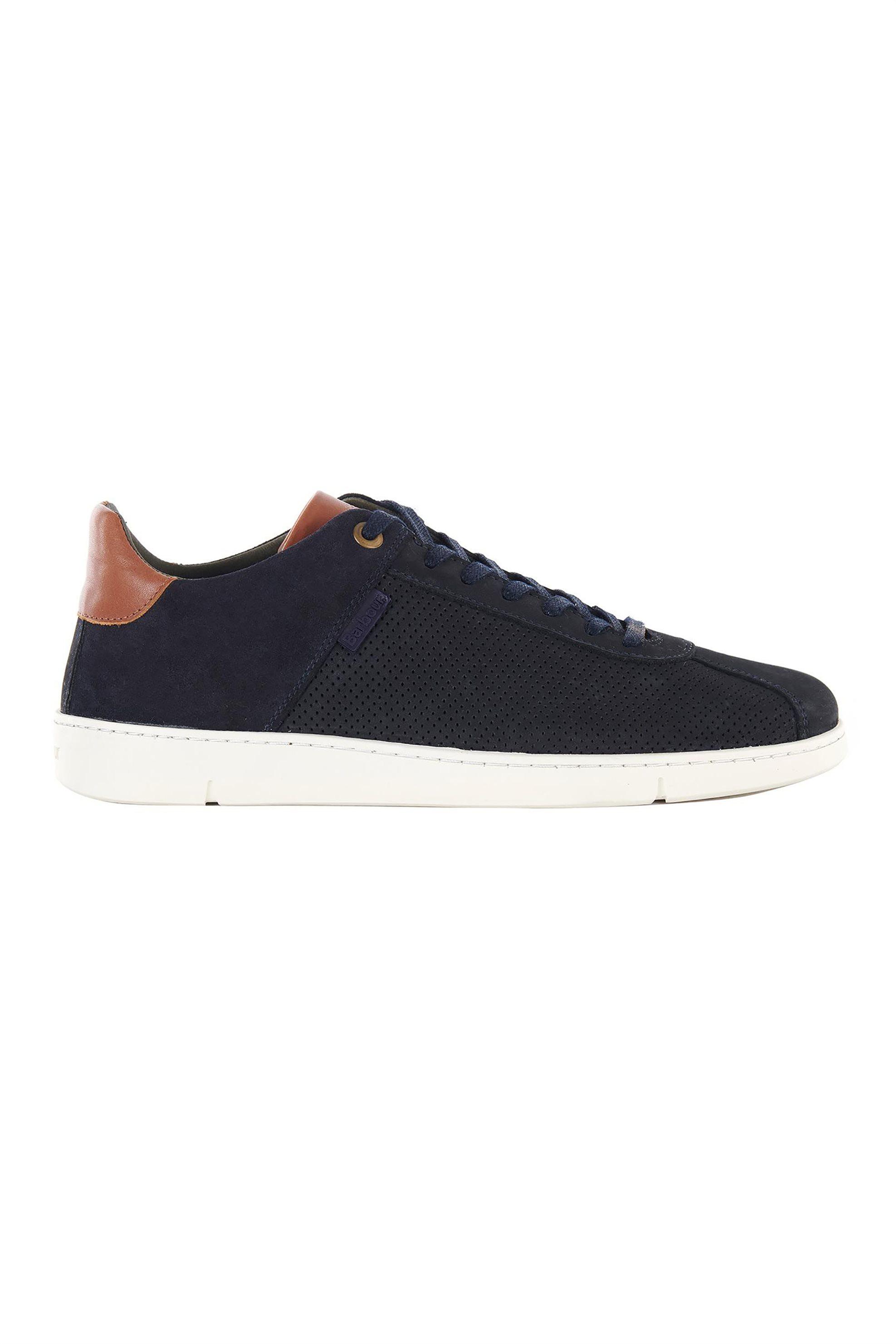 "Barbour ανδρικά δερμάτινα sneakers με suede επτομέρεια ""Bushtail"" – MFO0539 – Μπλε Σκούρο"