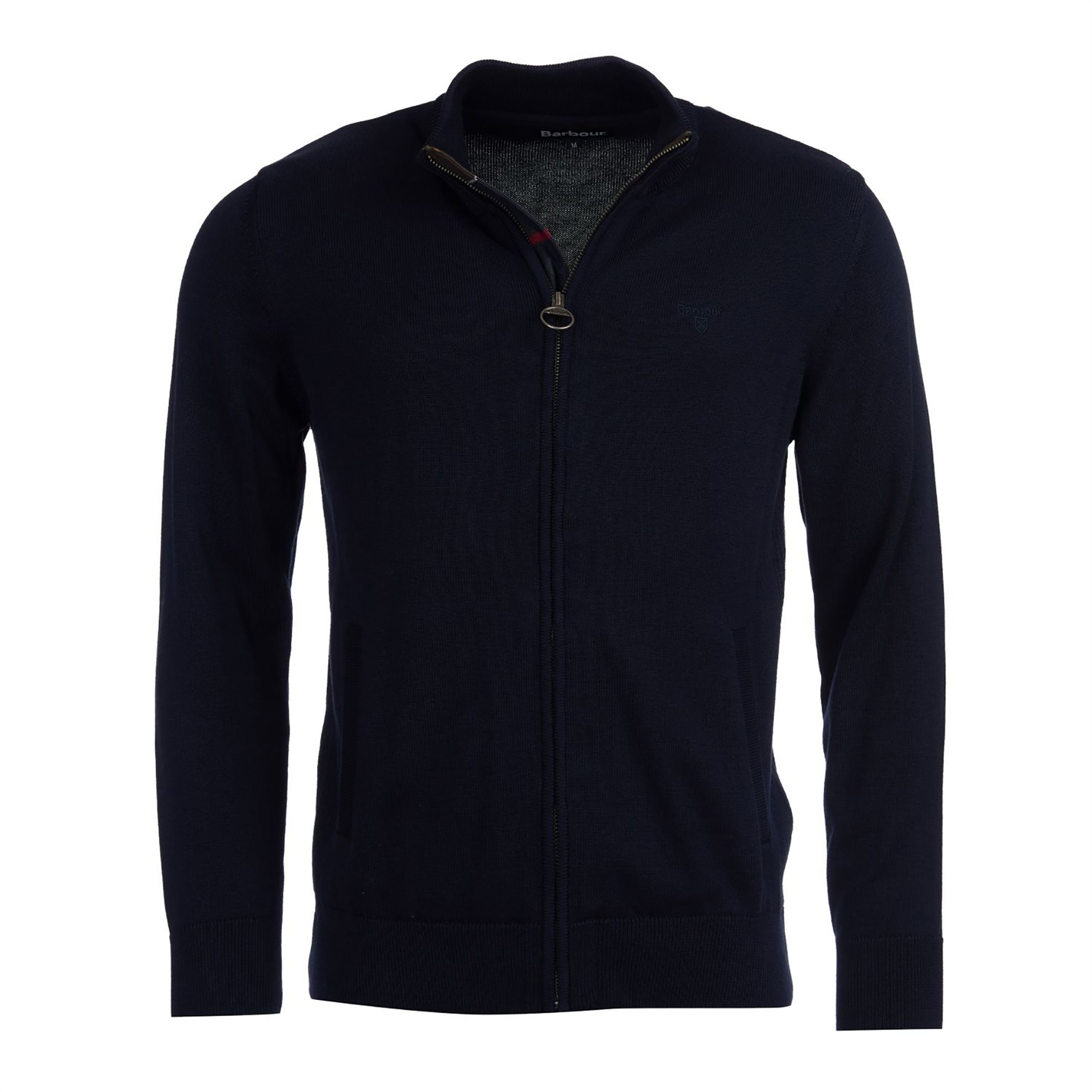 Barbour ανδρική ζακέτα με καρό λεπτομέρεια - MKN1148 - Μπλε Σκούρο ανδρασ   ρουχα   πλεκτά   ζακέτες