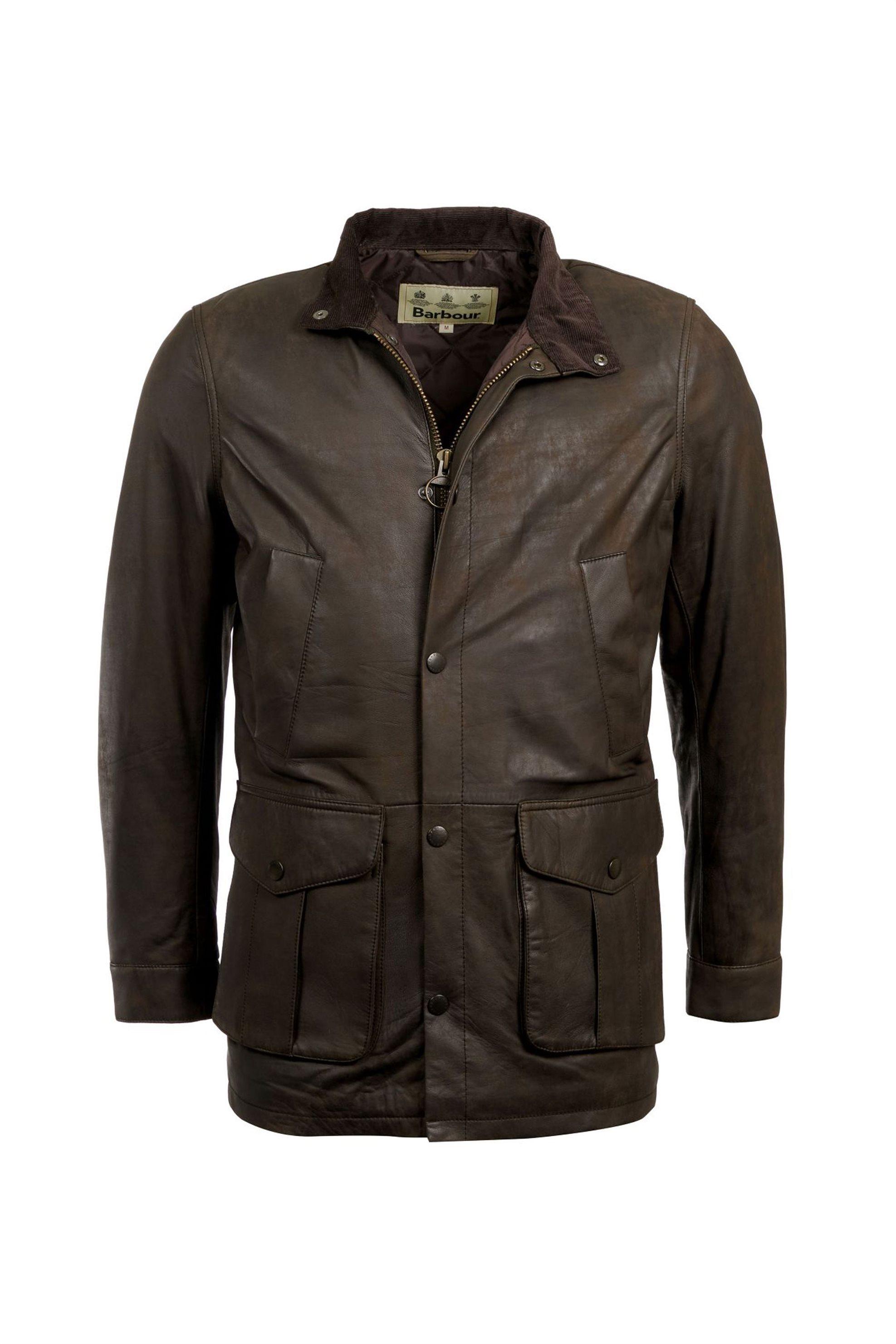 Barbourανδρικό δερμάτινο μπουφάν Thomas - MLT0081 - Λαδί ανδρασ   ρουχα   παλτό   μπουφάν   δερμάτινα