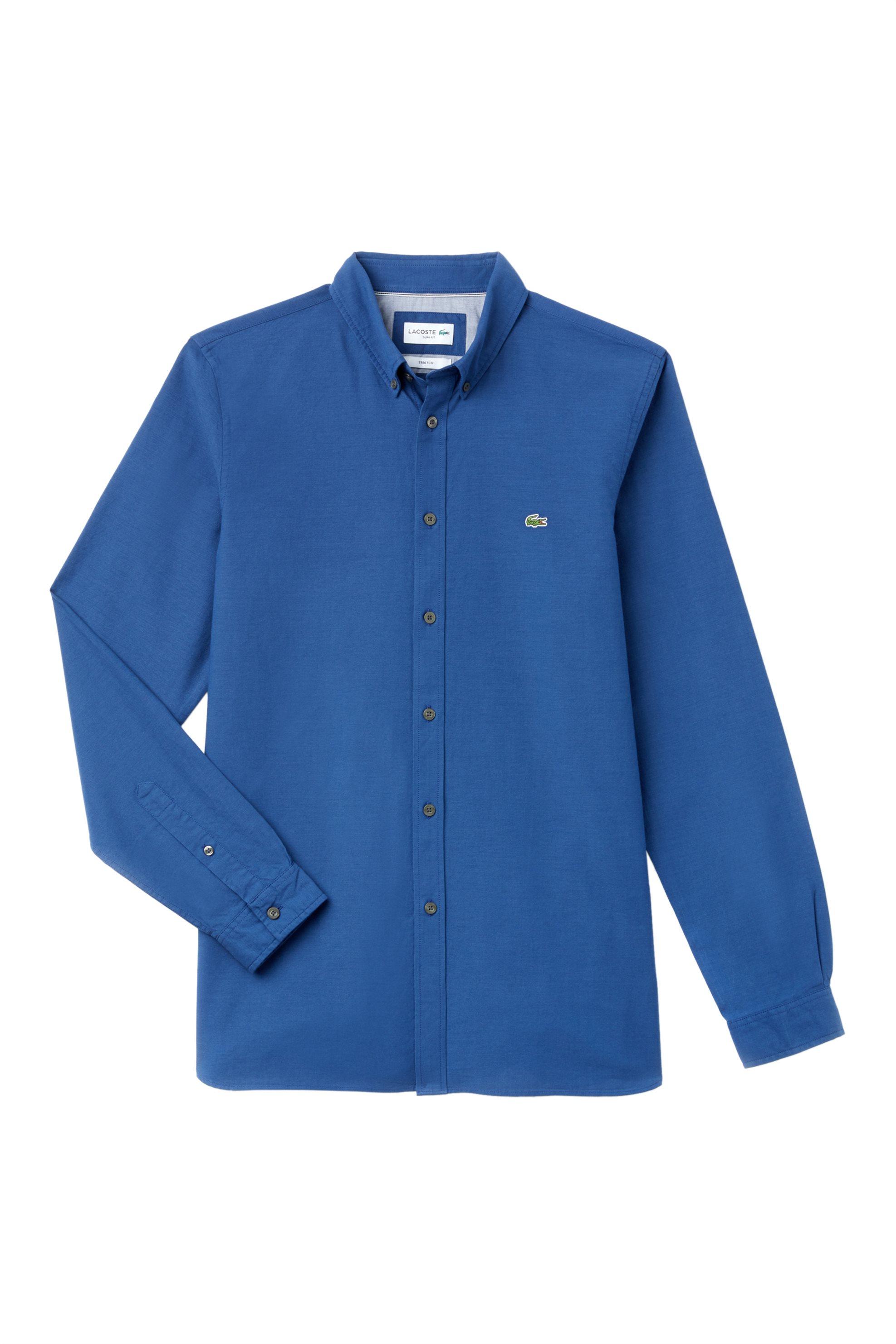 c0ba7a42b5e2 Notos Lacoste ανδρικό πουκάμισο μονόχρωμο slim fit - CH0763 - Μπλε Ηλεκτρίκ
