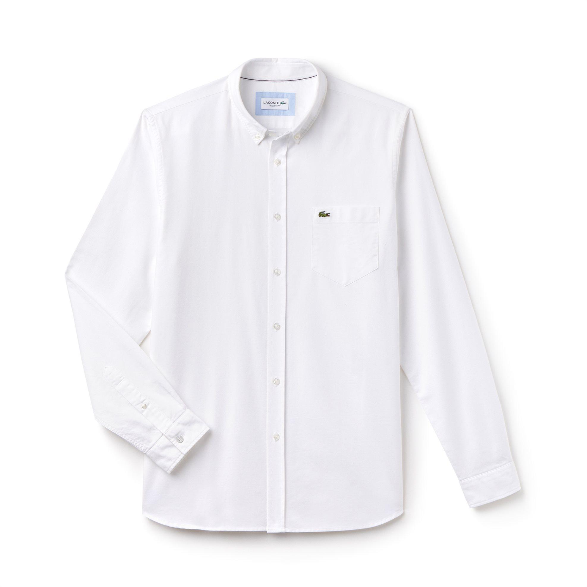 Ανδρικό πουκάμισο μονόχρωμο Spring Bloom Lacoste - CH4976 - Λευκό ανδρασ   ρουχα   πουκάμισα   casual   επίσημα   βραδυνά