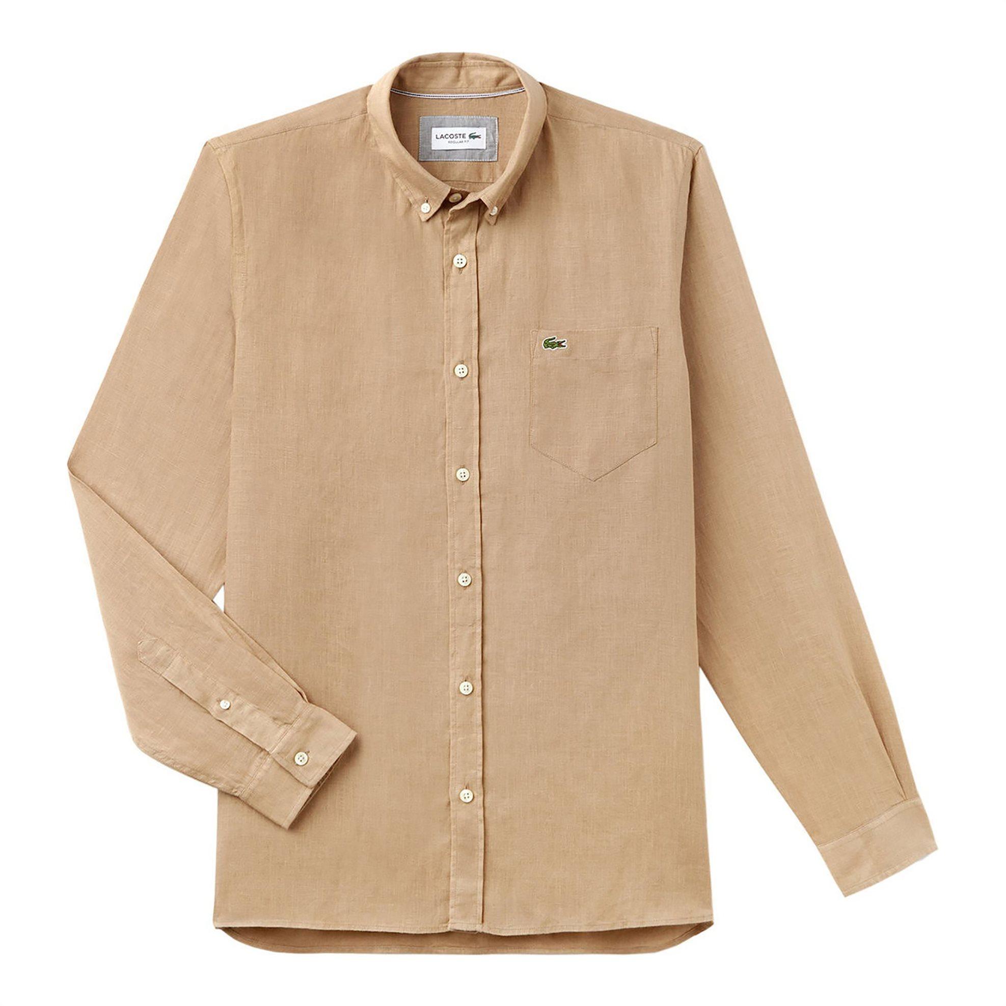Ανδρικό πουκάμισο λινό Spring Bloom Lacoste - CH4990 - Μπεζ ανδρασ   ρουχα   πουκάμισα   casual   επίσημα   βραδυνά