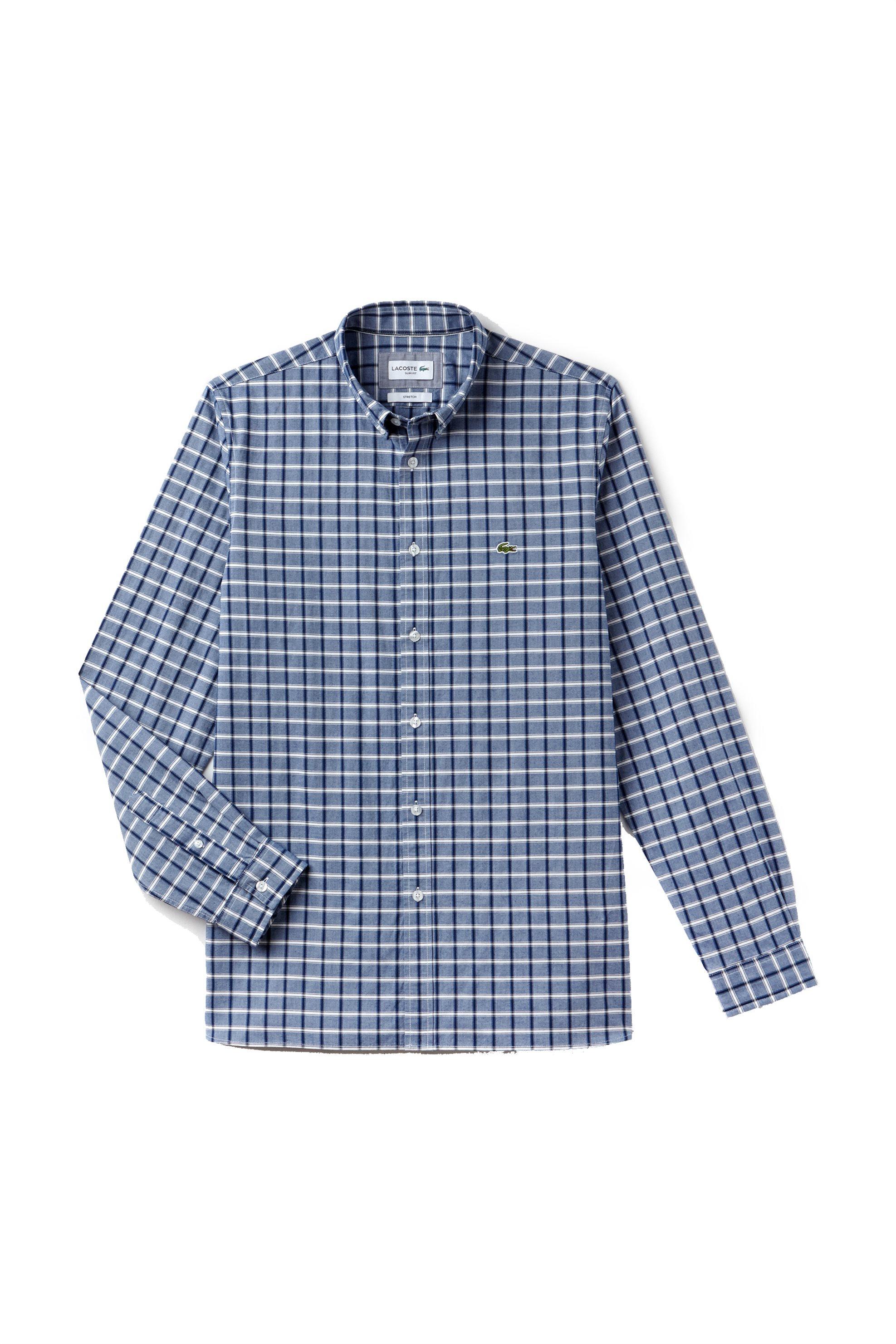 99e5b4132512 Ανδρικό καρό πουκάμισο Modern Heritage Collection Lacoste - CH4998 - Μπλε  Σκούρο
