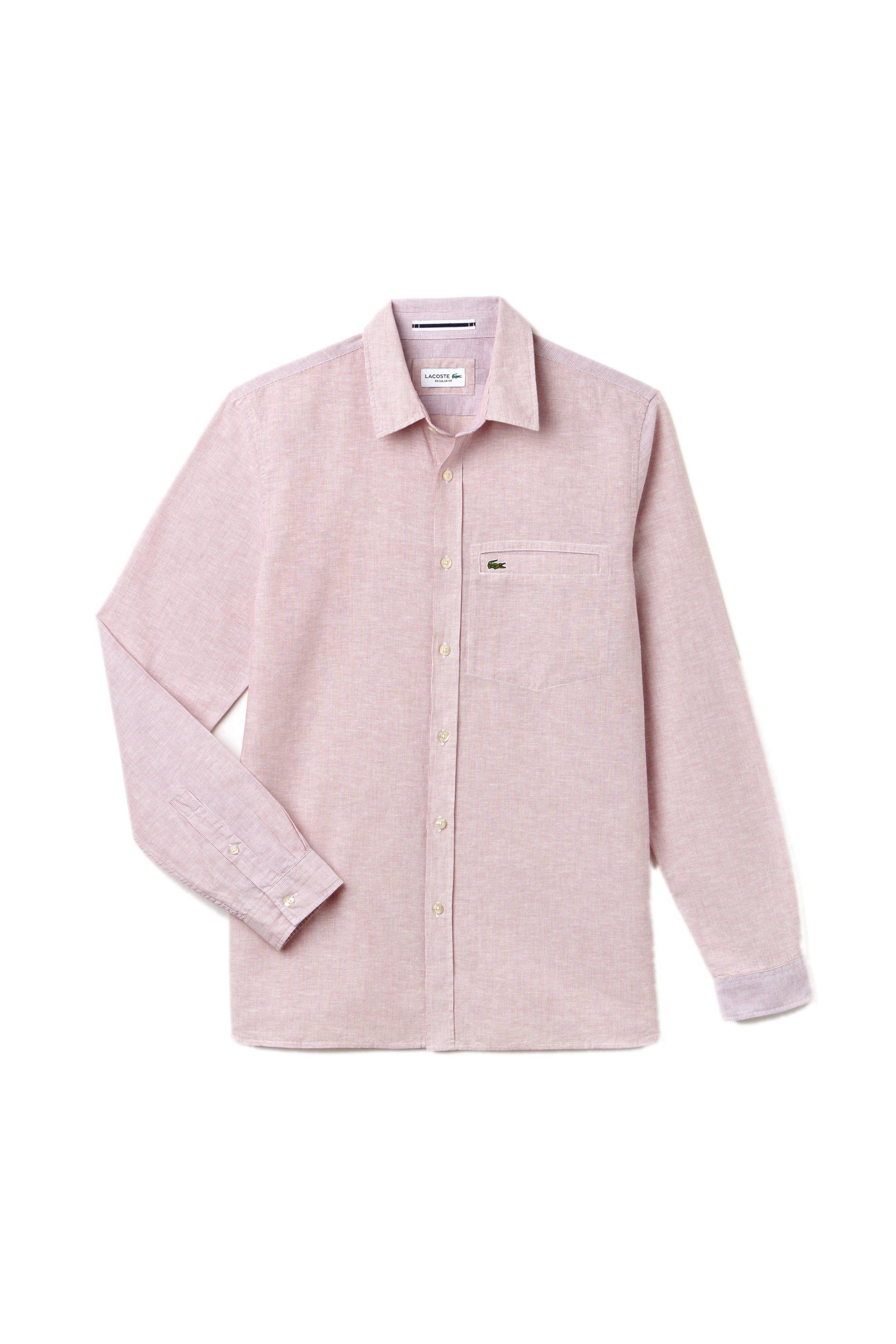 Ανδρικό ριγέ πουκάμισο Spring Bloom S/S 2018 Collection Lacoste - CH4999 - Κόκκι ανδρασ   ρουχα   πουκάμισα   casual