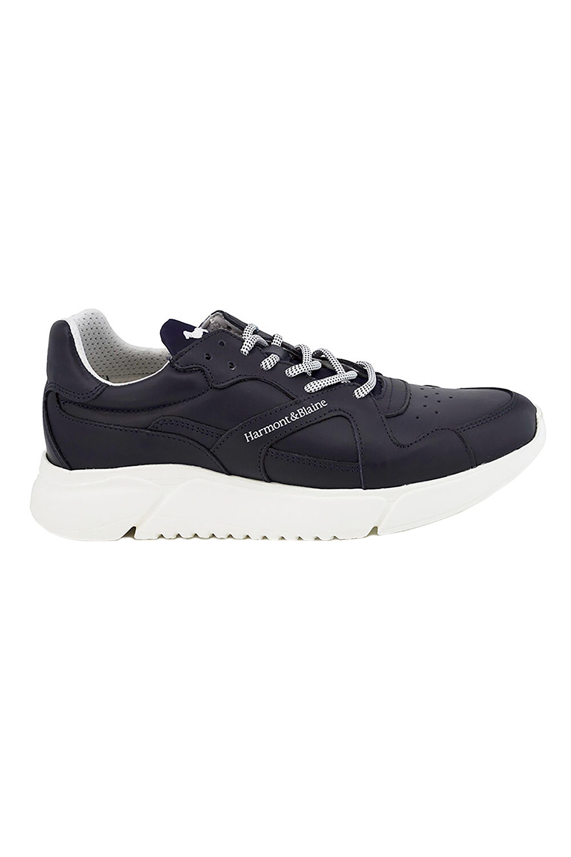 Harmont & Blaine ανδρικά δερμάτινα sneakers με logo print – EFM201181-5010 – Μπλε Σκούρο