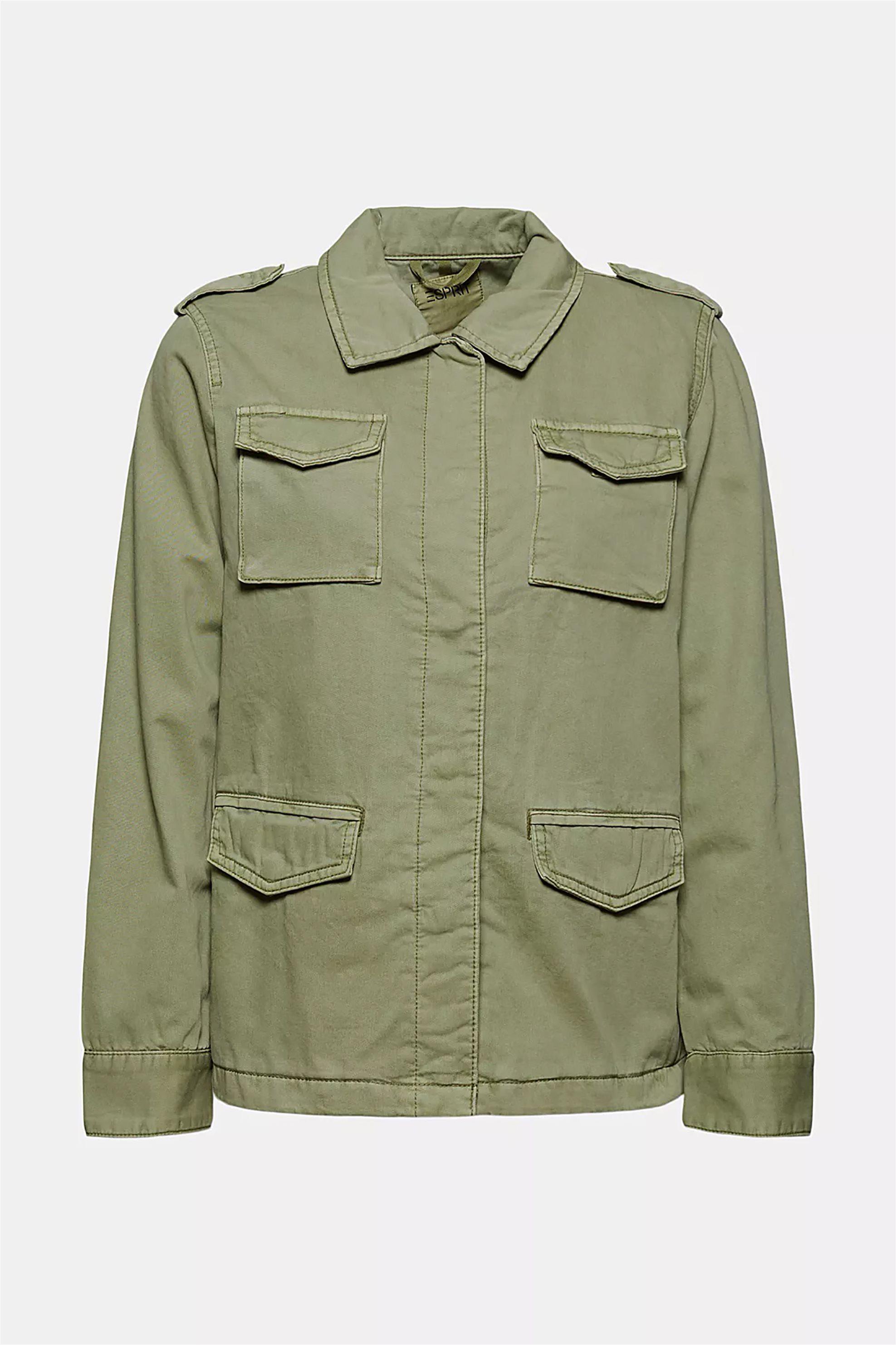 Esprit γυναικείο jacket μονόχρωμο με flap τσέπες - 021EE1G318 - Λαδί