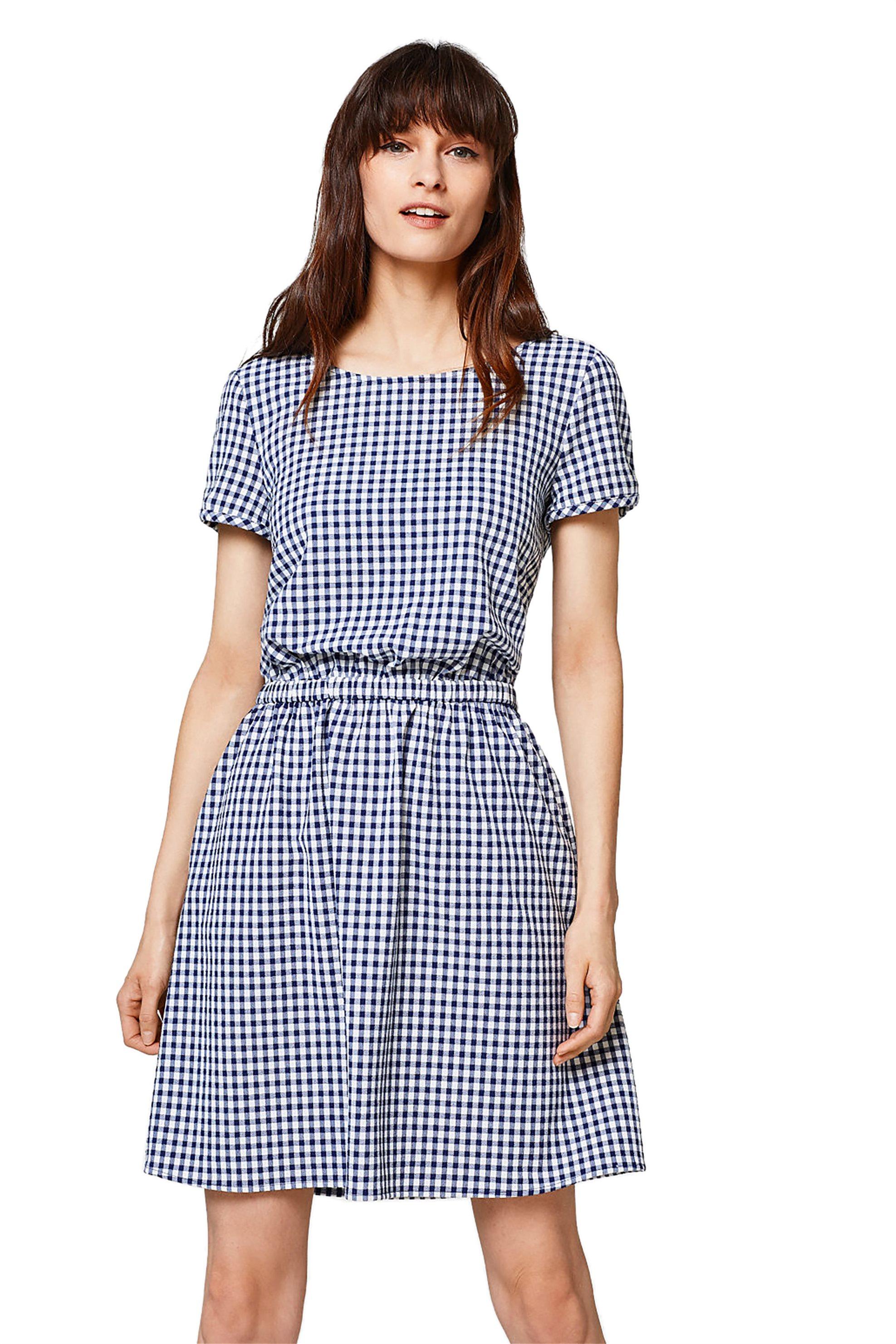 Γυναικείο καρό φόρεμα με λάστιχο στη μέση και άνοιγμα στην πλάτη Esprit - 028EE1 γυναικα   ρουχα   φορέματα   mini φορέματα