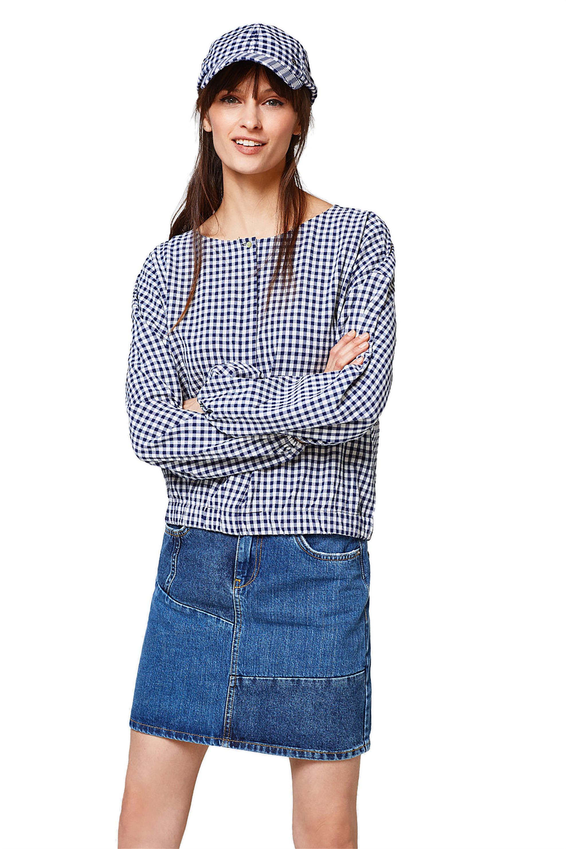 Γυναικεία μπλούζα καρό με λάστιχο στη μέση Esprit - 028EE1F004 - Μπλε γυναικα   ρουχα   tops   μπλούζες   casual