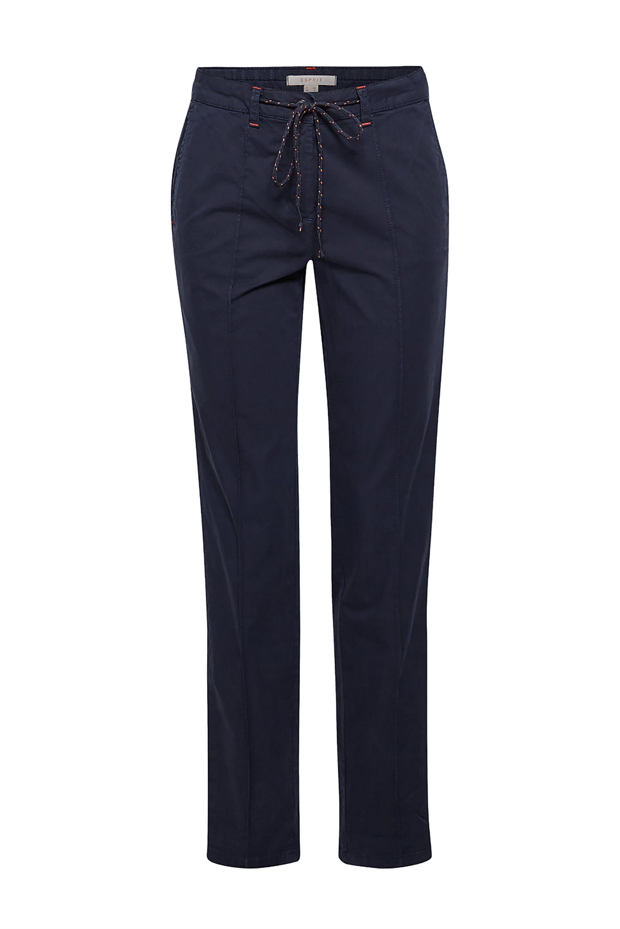 Esprit γυναικείο παντελόνι chinos με κορδόνι στην μέση - 029EE1B032 - Μπλε Σκούρ γυναικα   ρουχα   παντελόνια   chinos