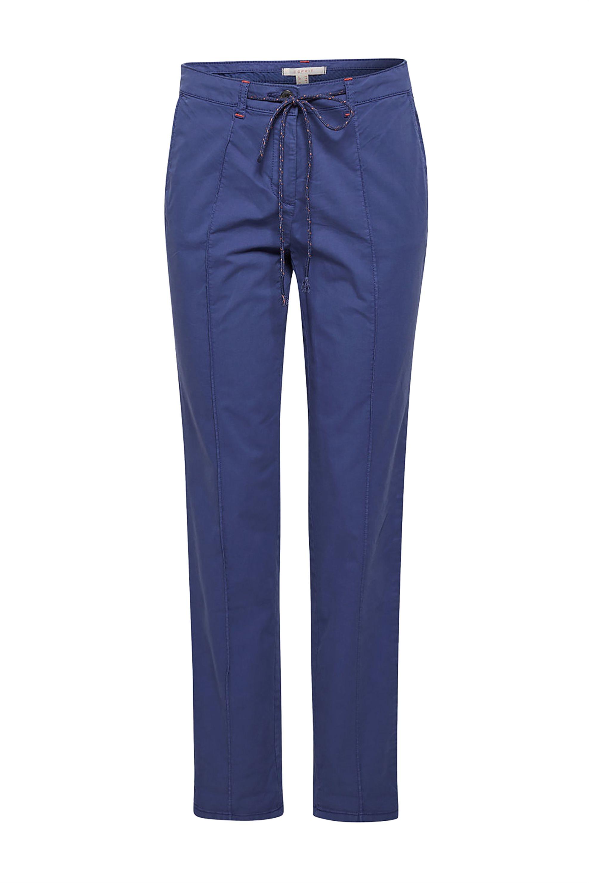 Esprit γυναικείο παντελόνι chinos με κορδόνι στην μέση - 029EE1B032 - Μπλε γυναικα   ρουχα   παντελόνια   chinos