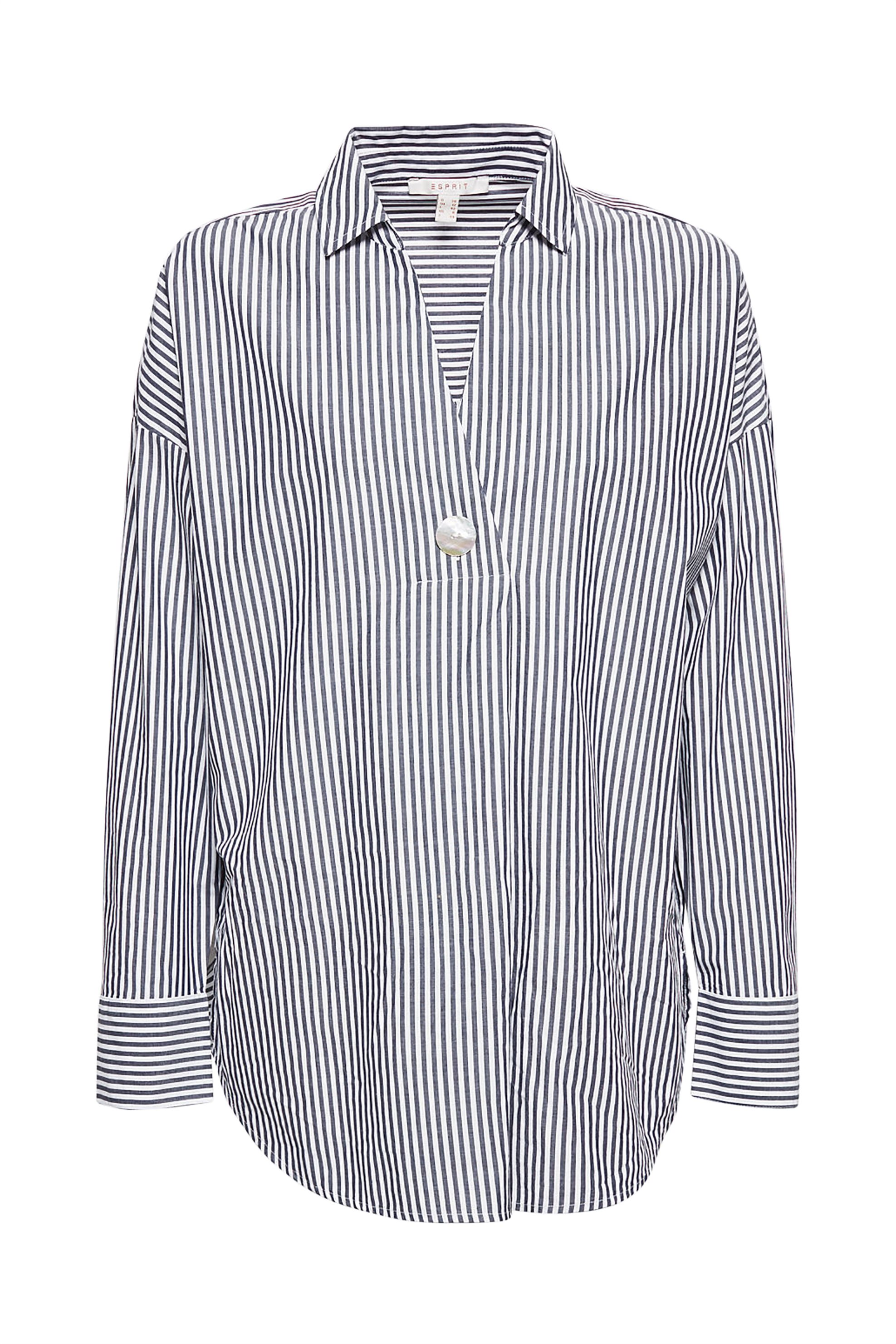 Esprit γυναικεία ριγέ πουκαμίσα με κουμπί - 029EE1F019 - Μπλε γυναικα   ρουχα   tops   πουκάμισα   πουκαμίσες   καφτάνια