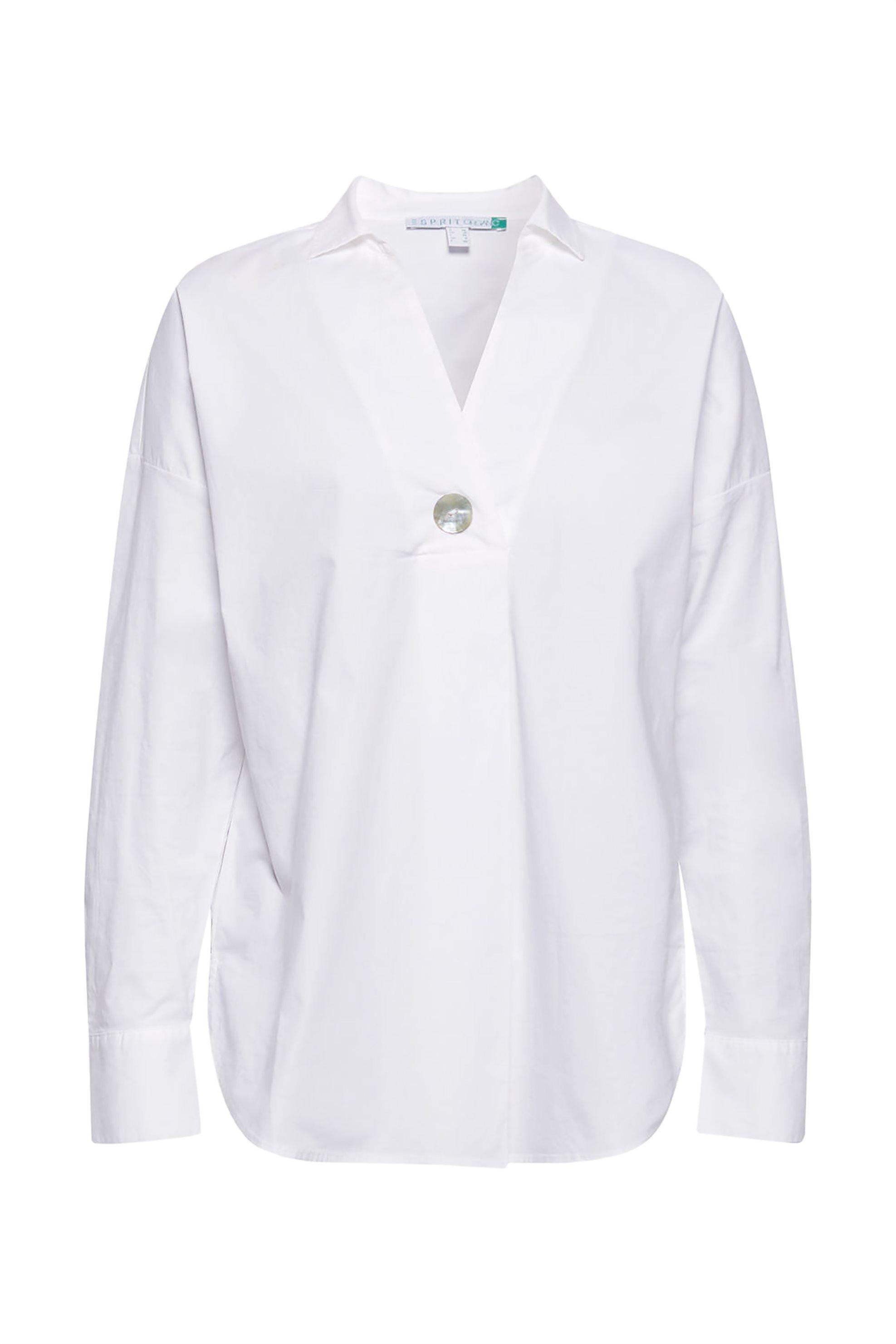Esprit γυναικεία μονόχρωμη πουκαμίσα με κουμπί - 029EE1F022 - Λευκό γυναικα   ρουχα   tops   πουκάμισα   πουκαμίσες   καφτάνια