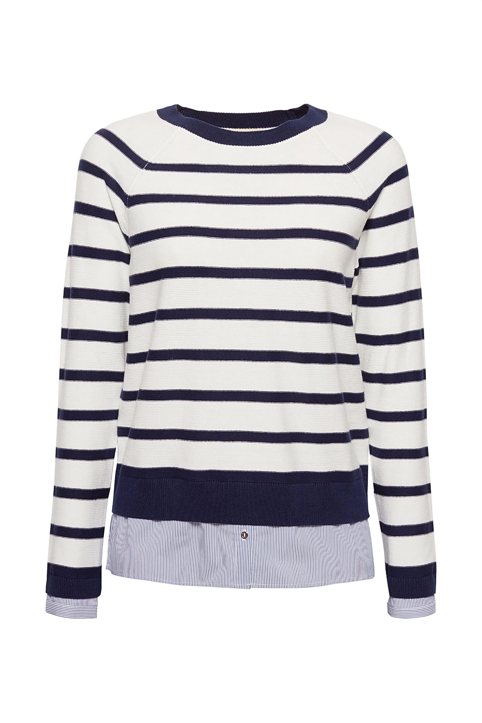 f04abfa987c4 Esprit γυναικεία ριγέ πλεκτή μπλούζα με layer - 029EE1I010 - Εκρού