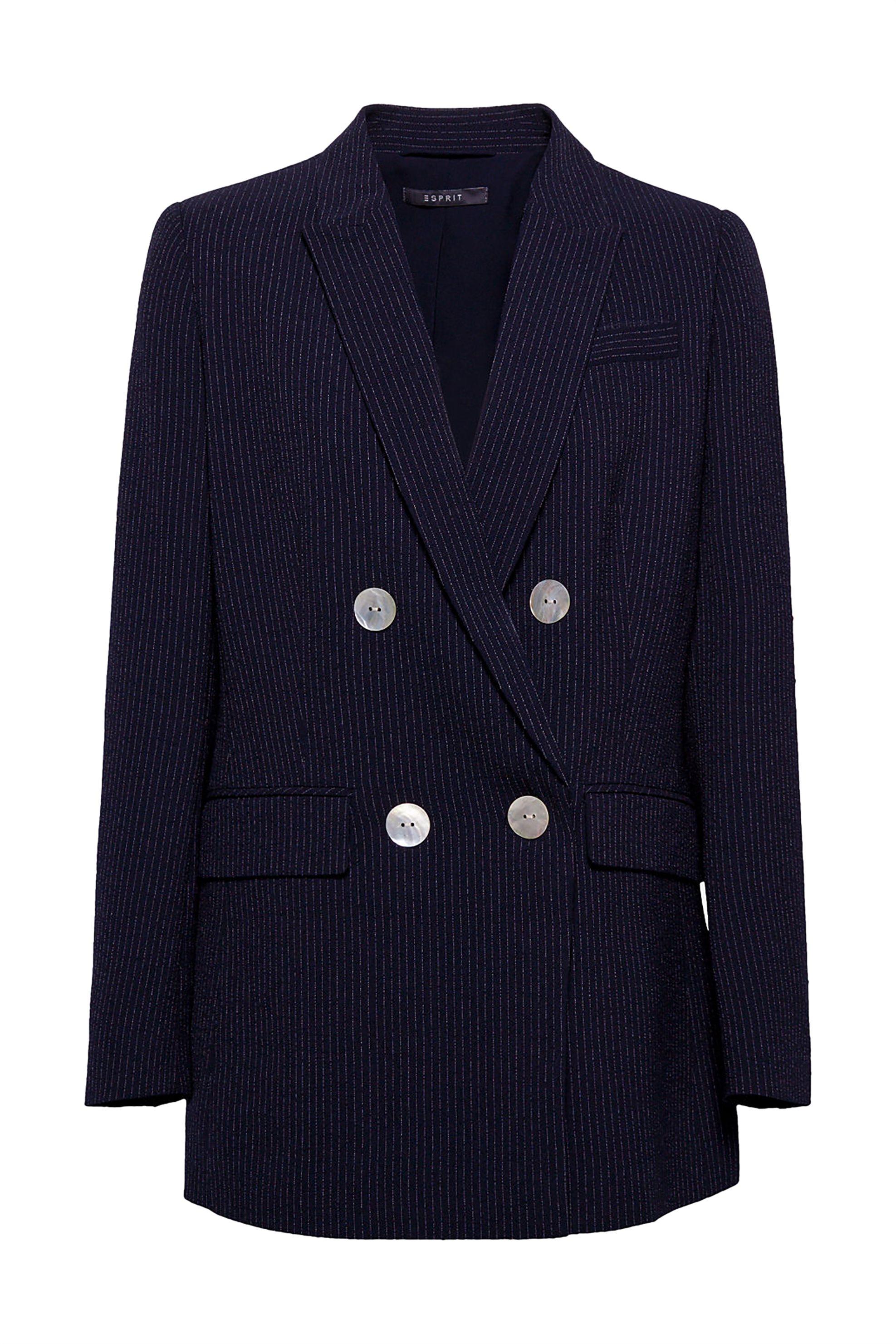 ccaa509ca8bd Notos Esprit γυναικείο σακάκι με λεπτές ρίγες και κουμπιά φίλντισι -  029EO1G004 - Μπλε Σκούρο
