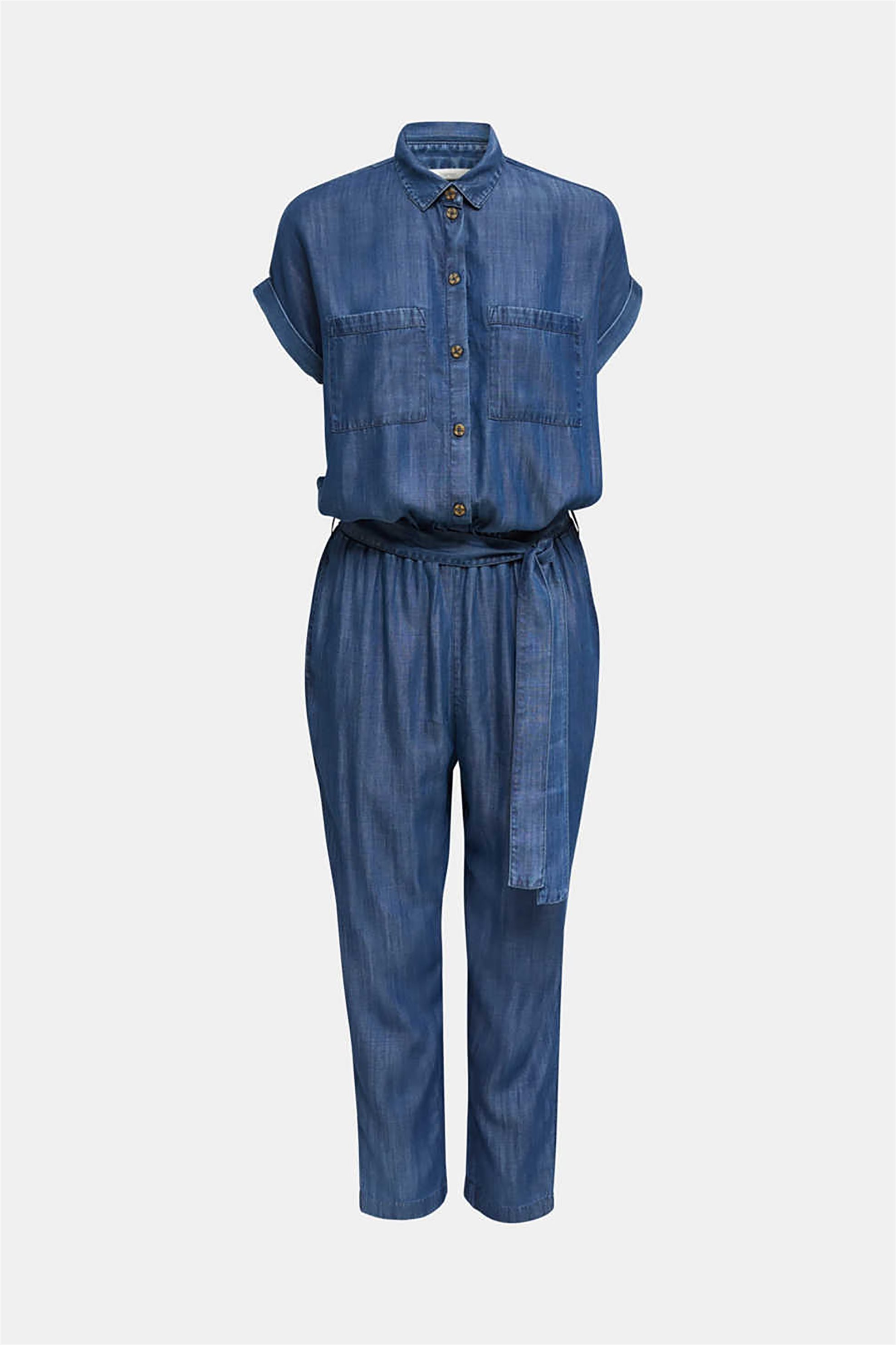 Esprit γυναικεία φόρμα denim ολόσωμη με ζωνάκι από το ίδιο ύφασμα - 040EE1L303 - Μπλε Σκούρο