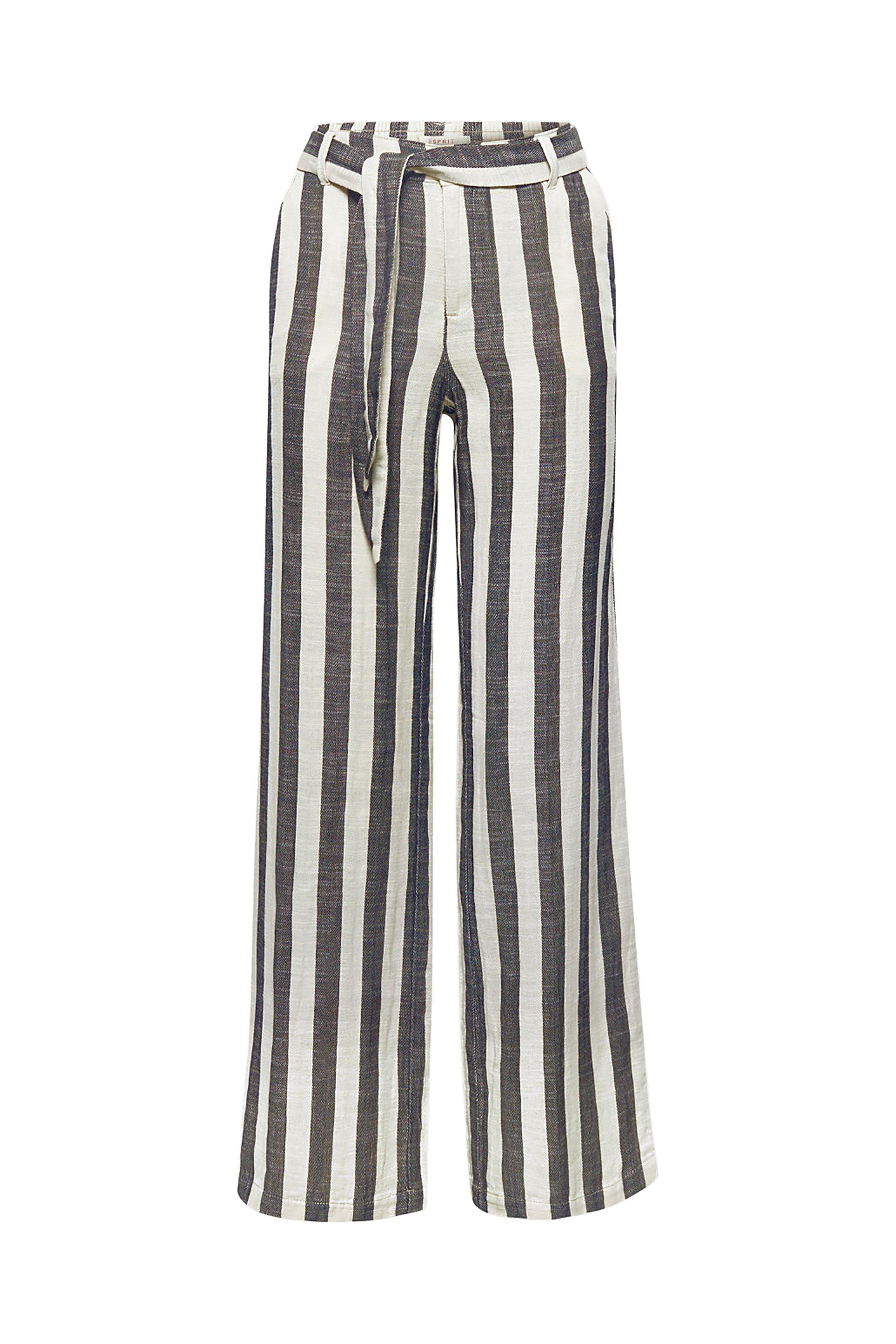 8d46ad8c33ed Esprit γυναικείο ριγέ παντελόνι λινό - 078EE1B006 - Λευκό
