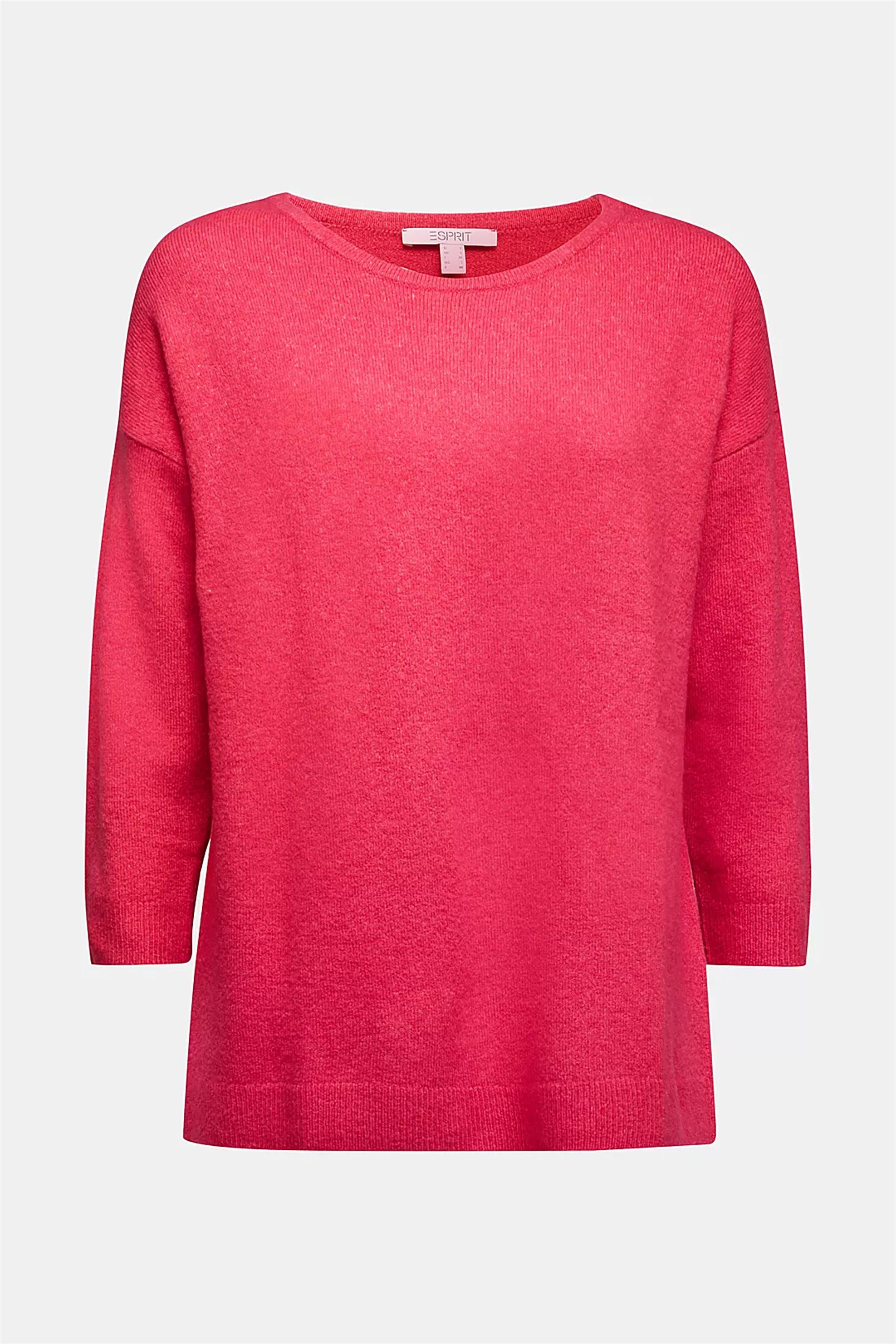 Esprit γυναικεία πλεκτή μπλούζα μονόχρωμη με στρογγυλή λαιμόκοψη - 080EE1I327 - Φούξια