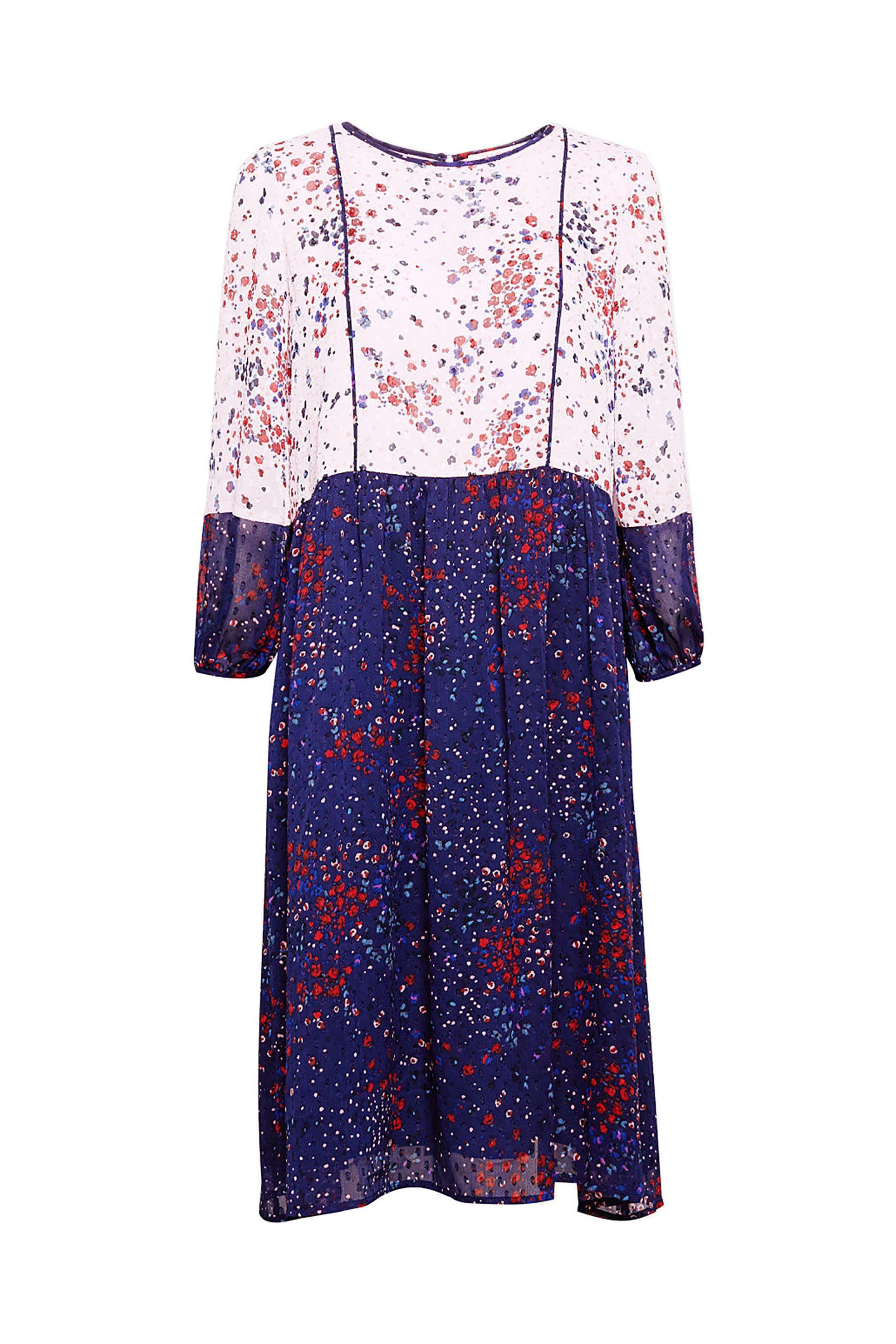 Esprit γυναικείο φόρεμα chiffon με φλοράλ print - 088EE1E019 - Μπλε Σκούρο γυναικα   ρουχα   φορέματα   midi φορέματα