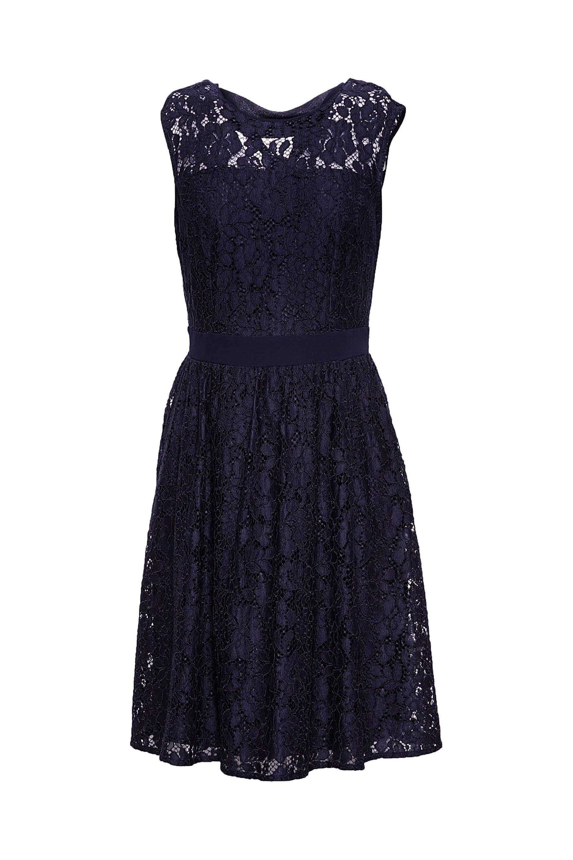 Esprit γυναικείο φόρεμα αμάνικο δαντέλα - 088EO1E016 - Μπλε Σκούρο