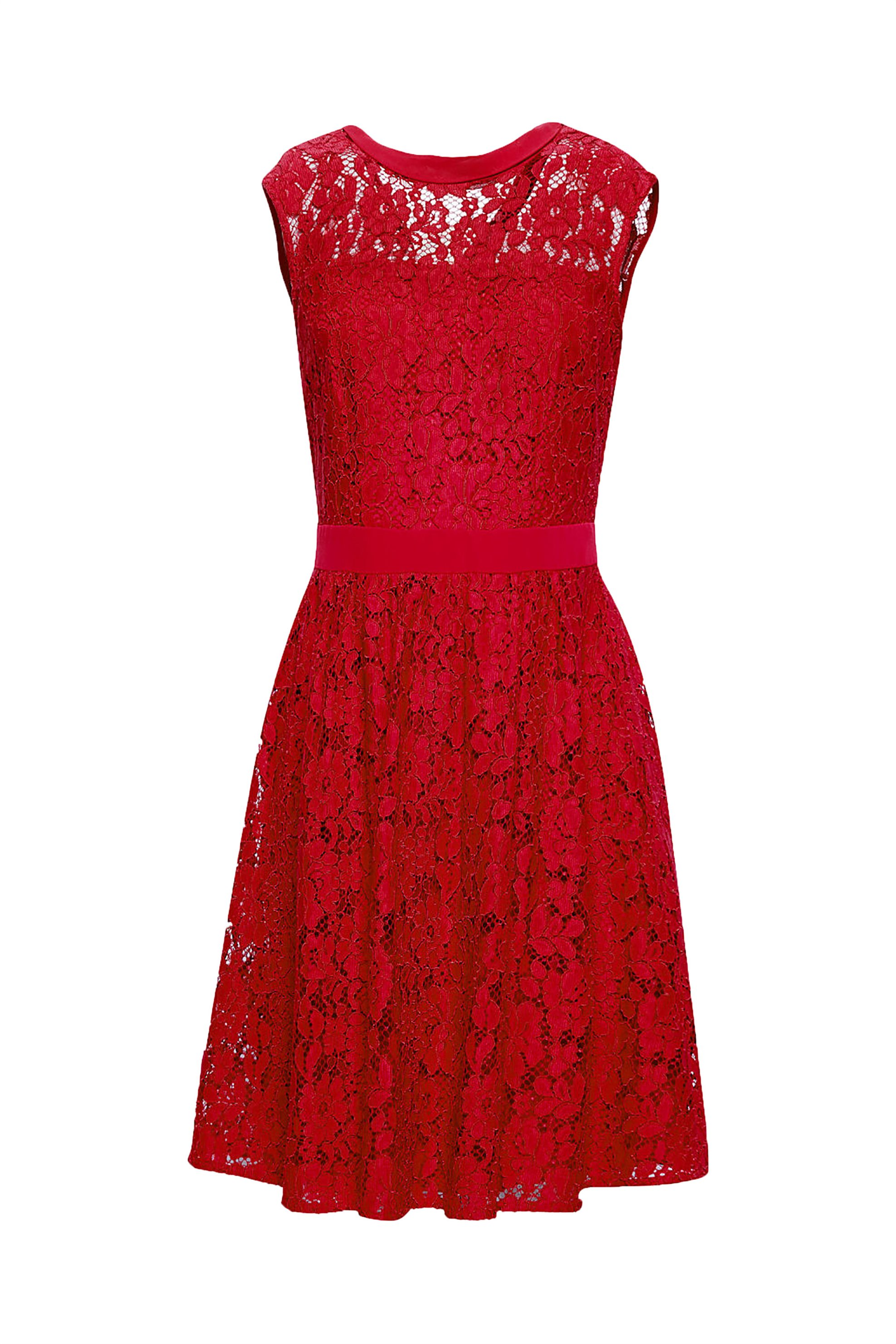 Esprit γυναικείο φόρεμα αμάνικο δαντέλα - 088EO1E016 - Κόκκινο γυναικα   ρουχα   φορέματα   mini φορέματα