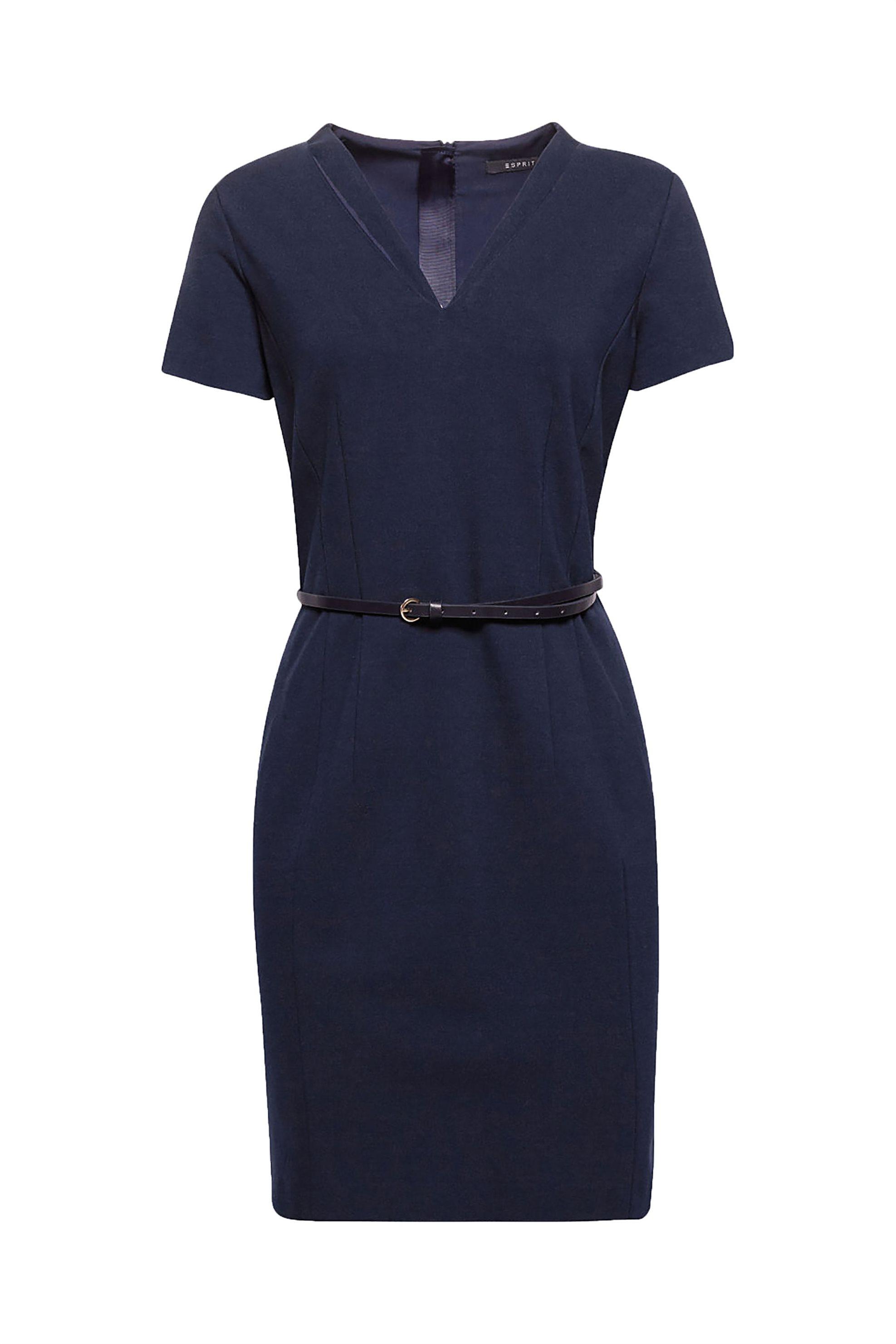 Esprit γυναικείο φόρεμα σε ίσια γραμμή με ζωνάκι - 088EO1E023 - Μπλε Σκούρο γυναικα   ρουχα   φορέματα   mini φορέματα