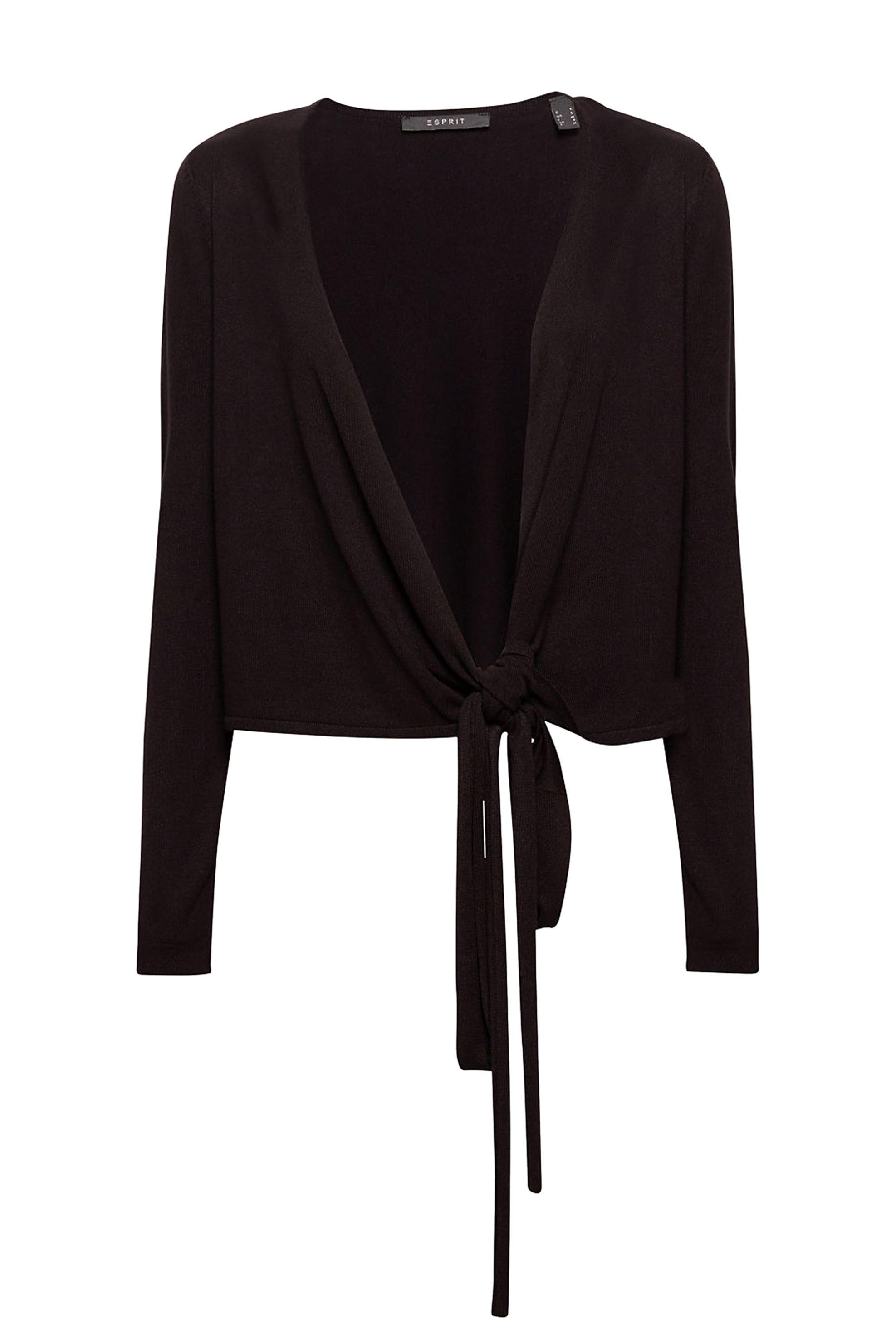 6beeddca1bff Esprit γυναικεία πλεκτή κρουαζέ μπλούζα με ζώνη - 128EO1I012 - Μαύρο