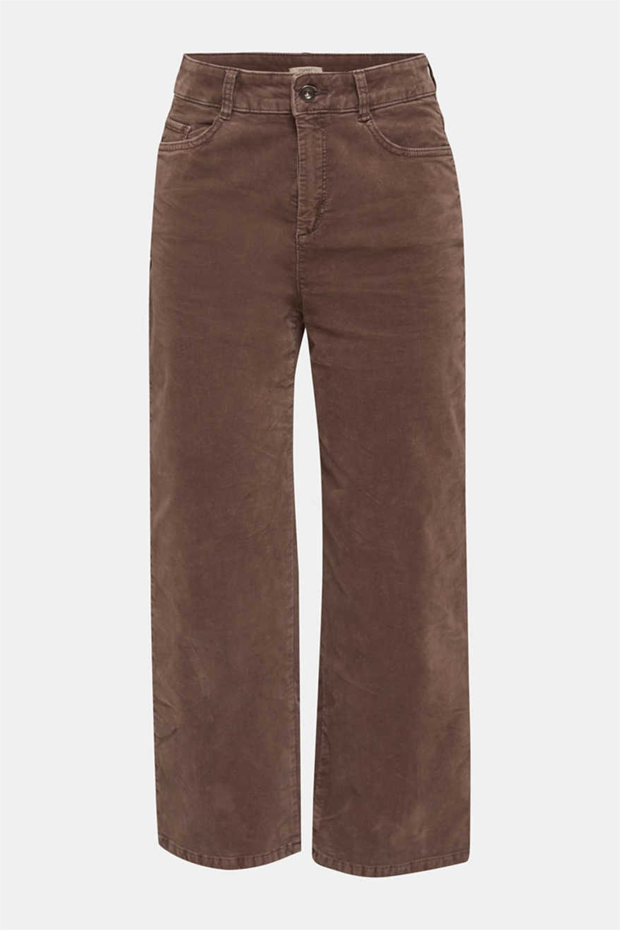 Esprit γυναικείο βελούδινο cropped παντελόνι - 129EE1B031 - Καφέ