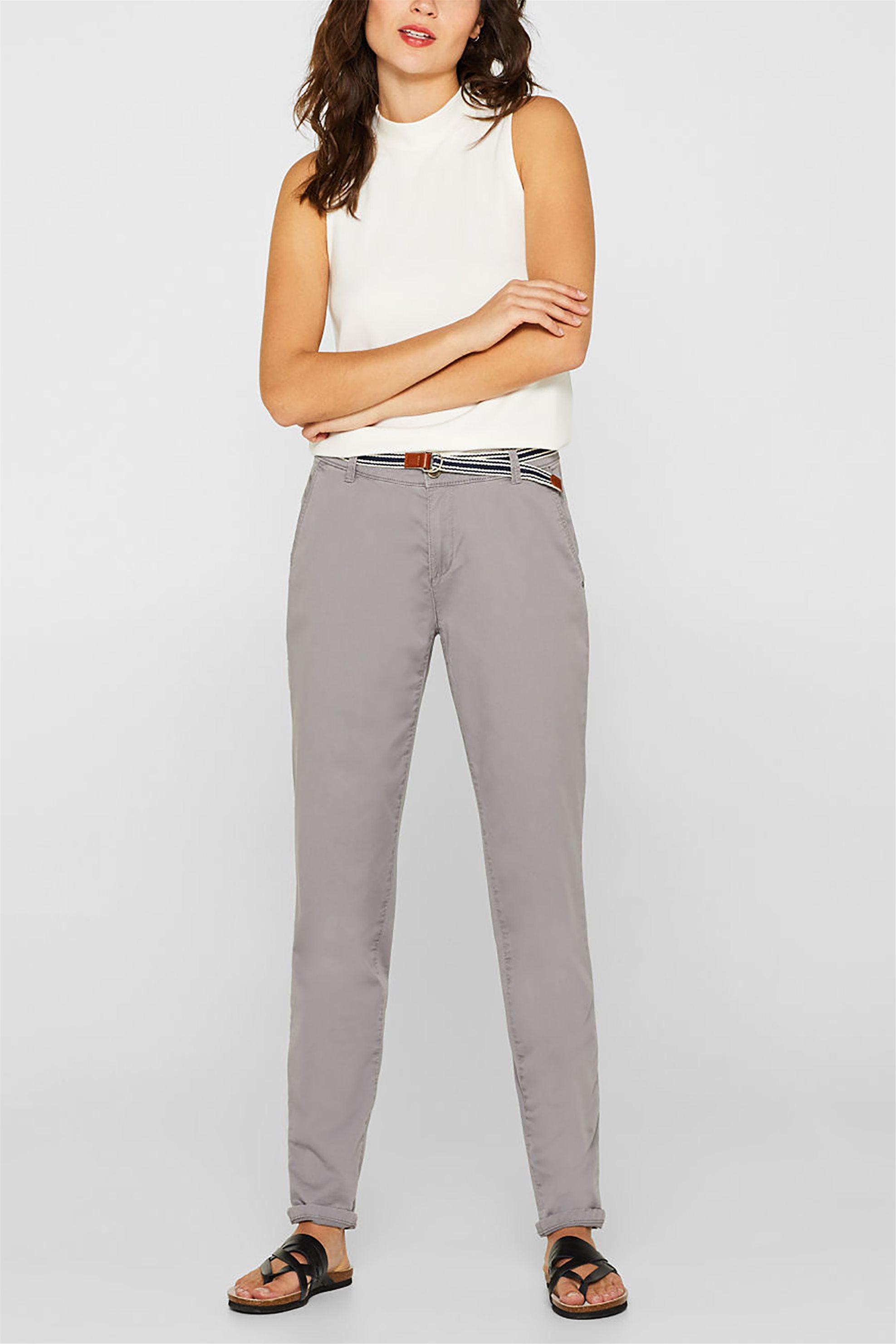 14847352f670 Esprit γυναικείο chinos παντελόνι με ριγέ ζώνη - 999EE1B800 - Γκρι
