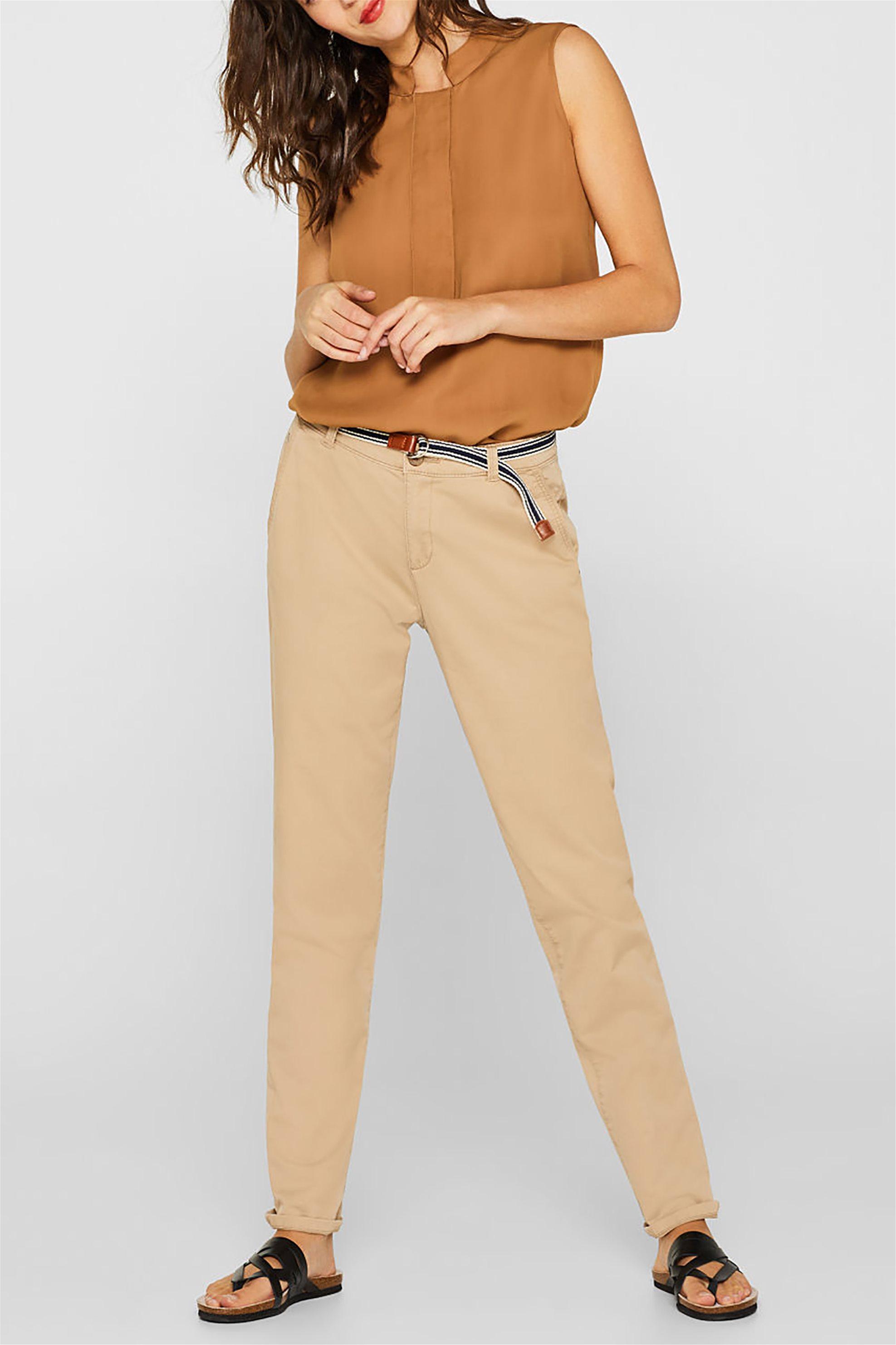 51d73ddc5ab0 Esprit γυναικείο chinos παντελόνι με ριγέ ζώνη - 999EE1B800 - Μπεζ