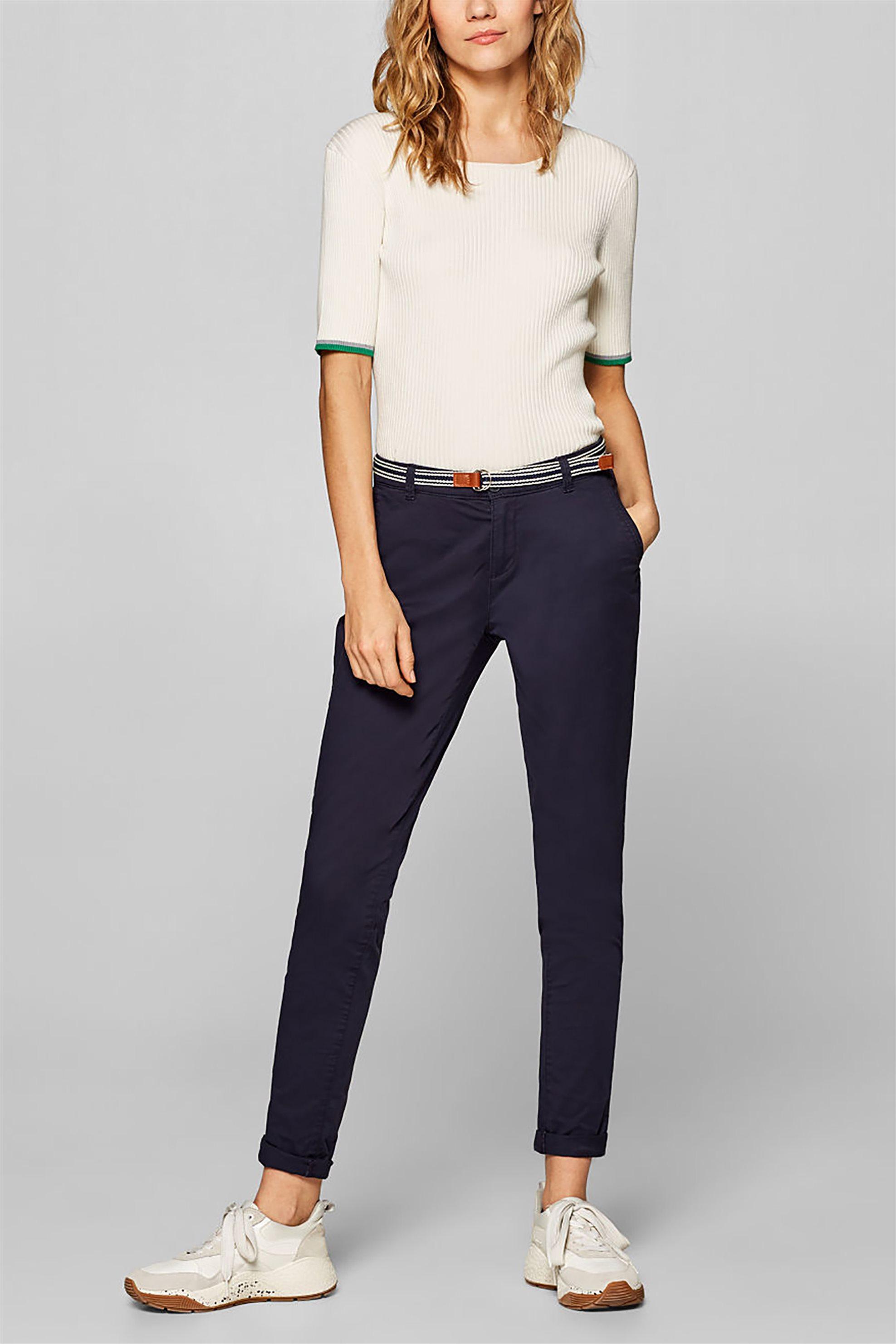 0cbbbef74cca Esprit γυναικείο chinos παντελόνι με ριγέ ζώνη - 999EE1B800 - Μπλε Σκούρο
