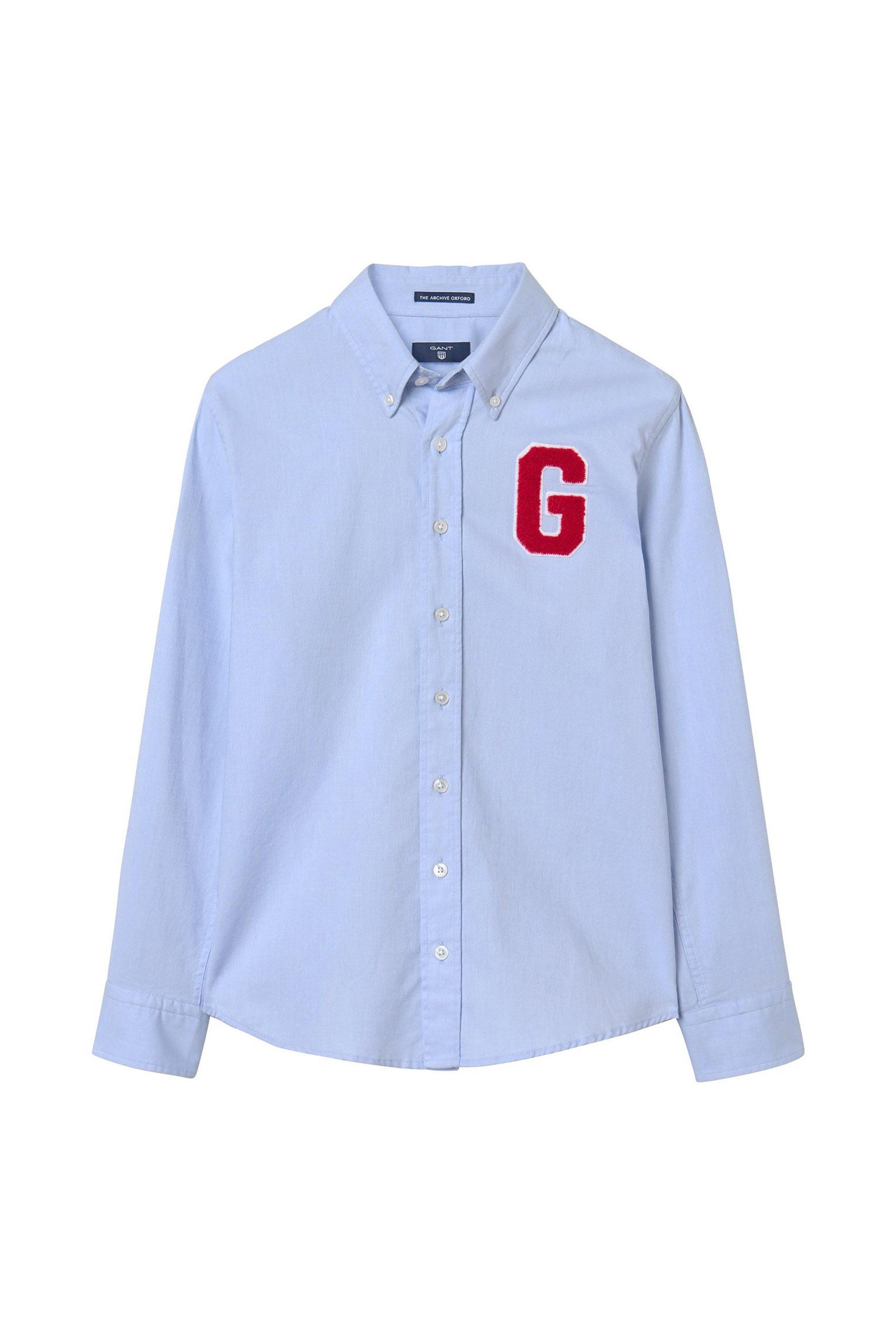 a5d2b0d0433c Notos Παιδικό πουκάμισο Archive Oxford Badges GANT - 930377 - Γαλάζιο