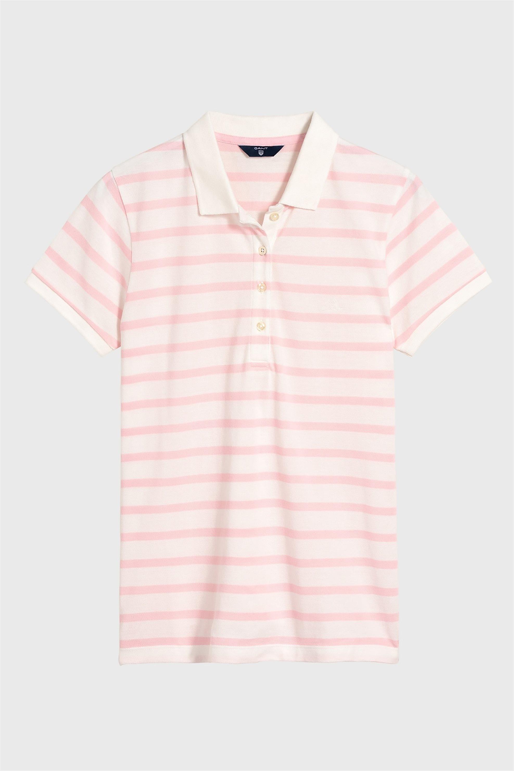 b1ccb2186626 Notos Gant γυναικείο polo κοντομάνικο μπλουζάκι με ρίγες - 4200206 - Ροζ