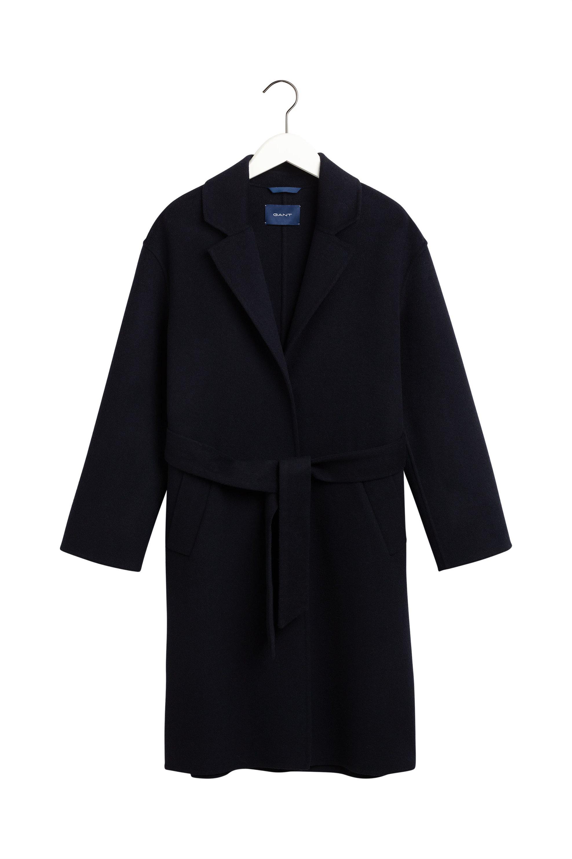 Gant γυναικείο midi κασμιρένιο παλτό με ζώνη - 4751025 - Μπλε Σκούρο