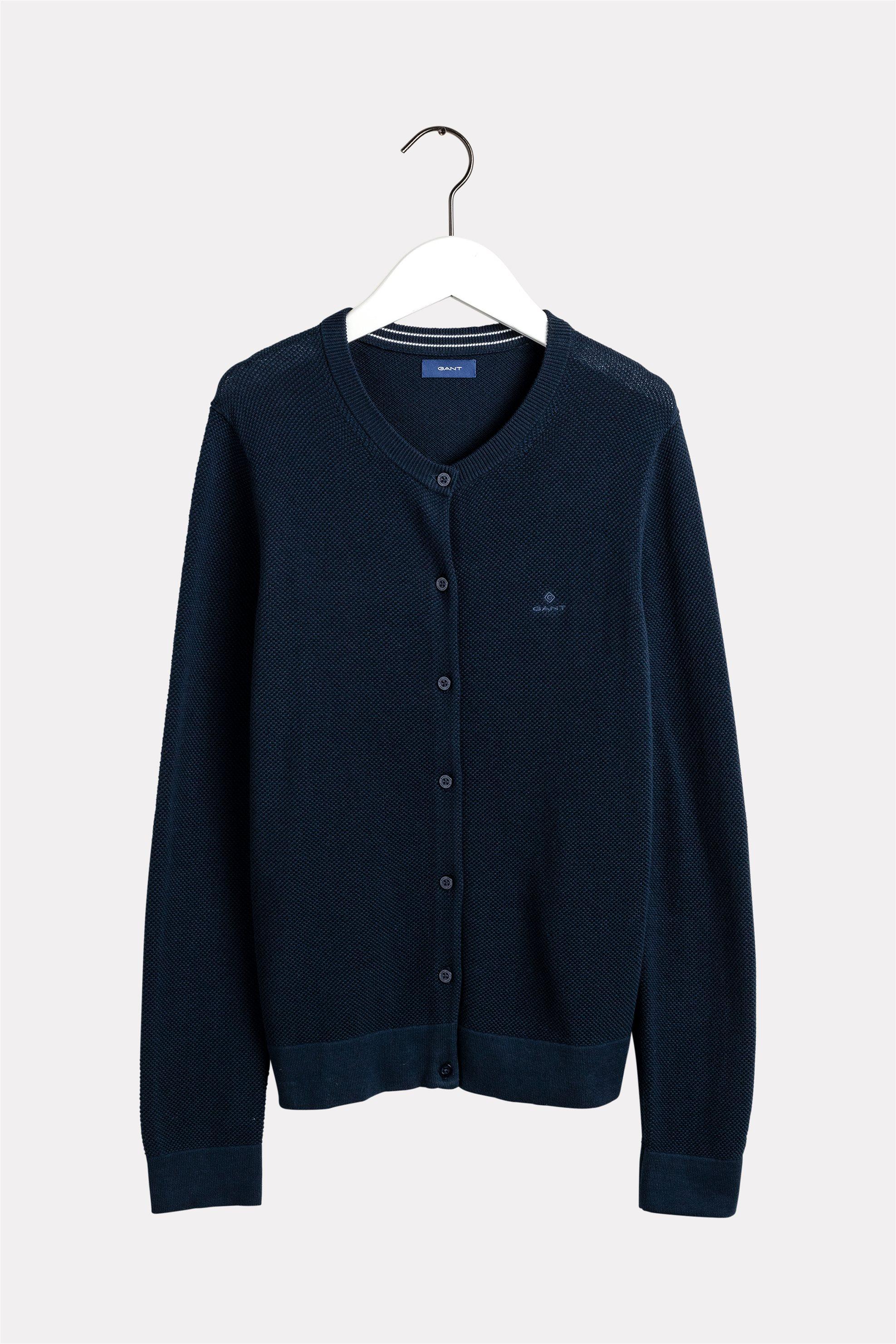 Gant γυναικεία πικέ ζακέτα μονόχρωμη - 4800505 - Μπλε Σκούρο