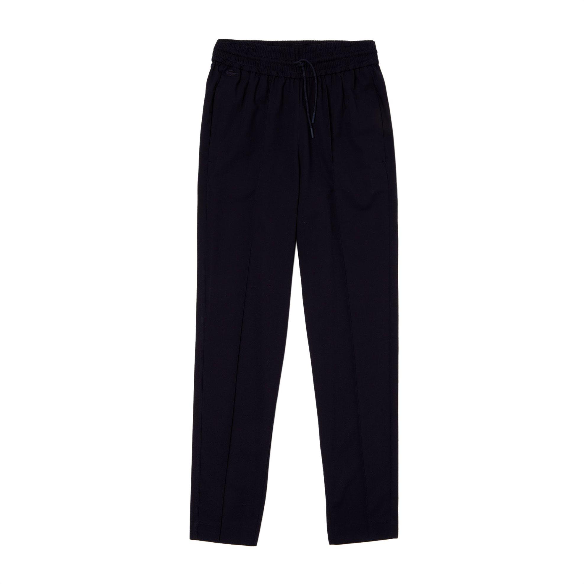 b1b180380ef Lacoste γυναικείο υφασμάτινο παντελόνι με λάστιχο στην μέση - HF4172 - Μπλε  Σκούρο