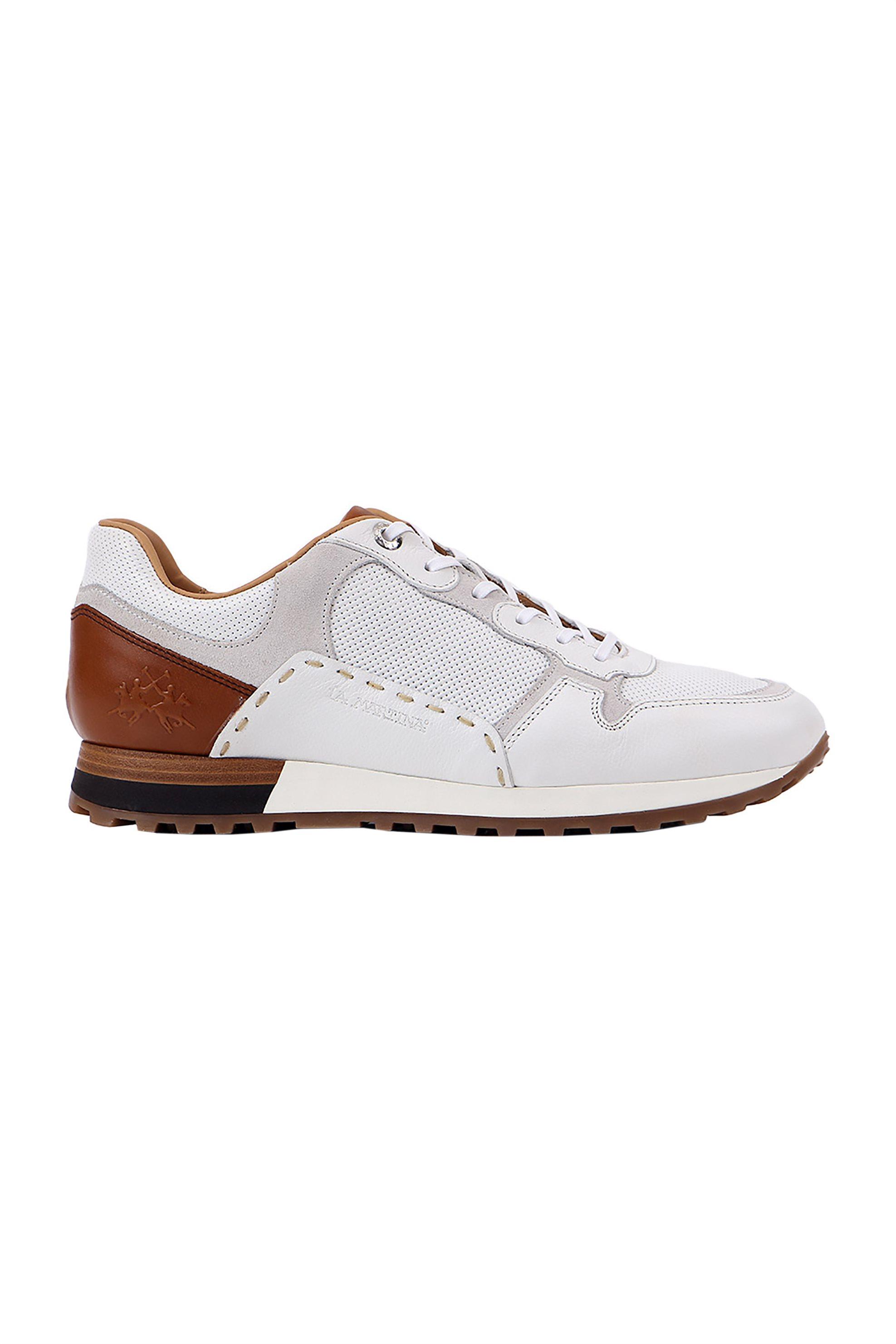"La Martina ανδρικά δερμάτινα sneakers με κορδόνια ""Scarpa"" – LFM201021-1100 – Λευκό"