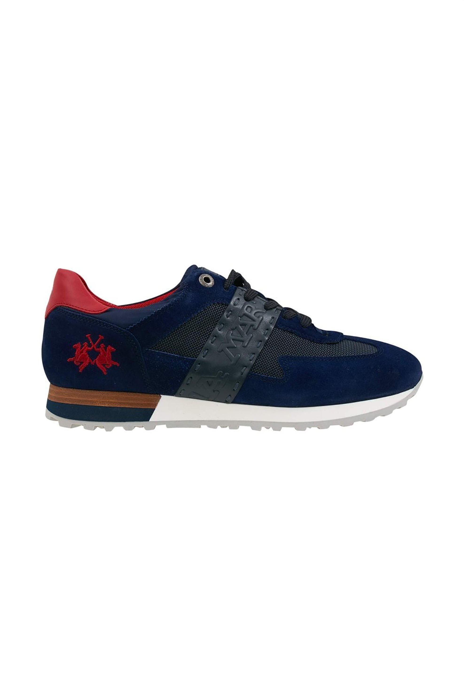 La Martina ανδρικά sneakers με suede στοιχεία και κεντημένο logo – LFM211061-2160 – Μπλε Σκούρο