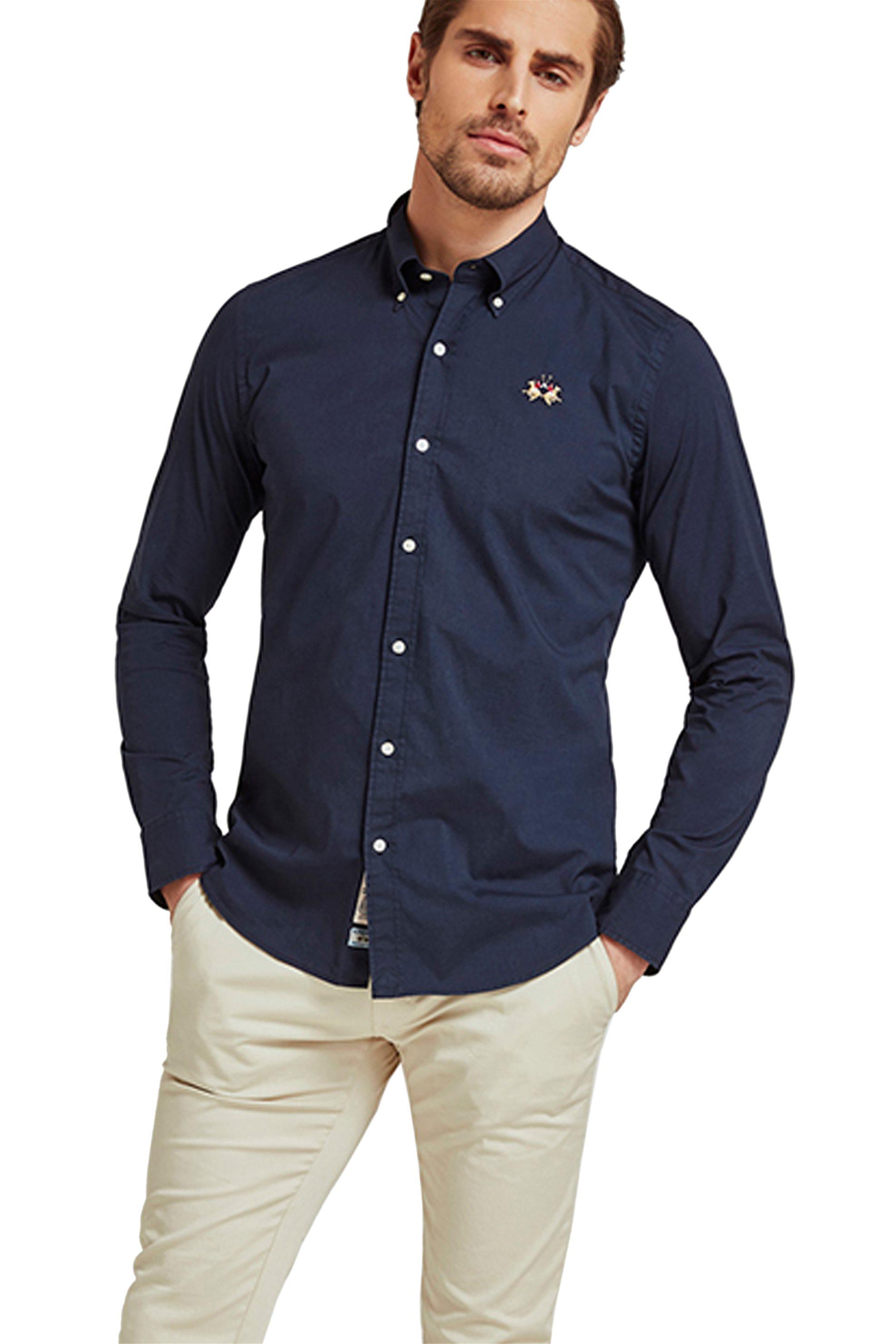 46670d87a9f7 Notos La Martina ανδρικό πουκάμισο με μικρό logo Leon - CCMC02-PP003 - Μπλε  Σκούρο