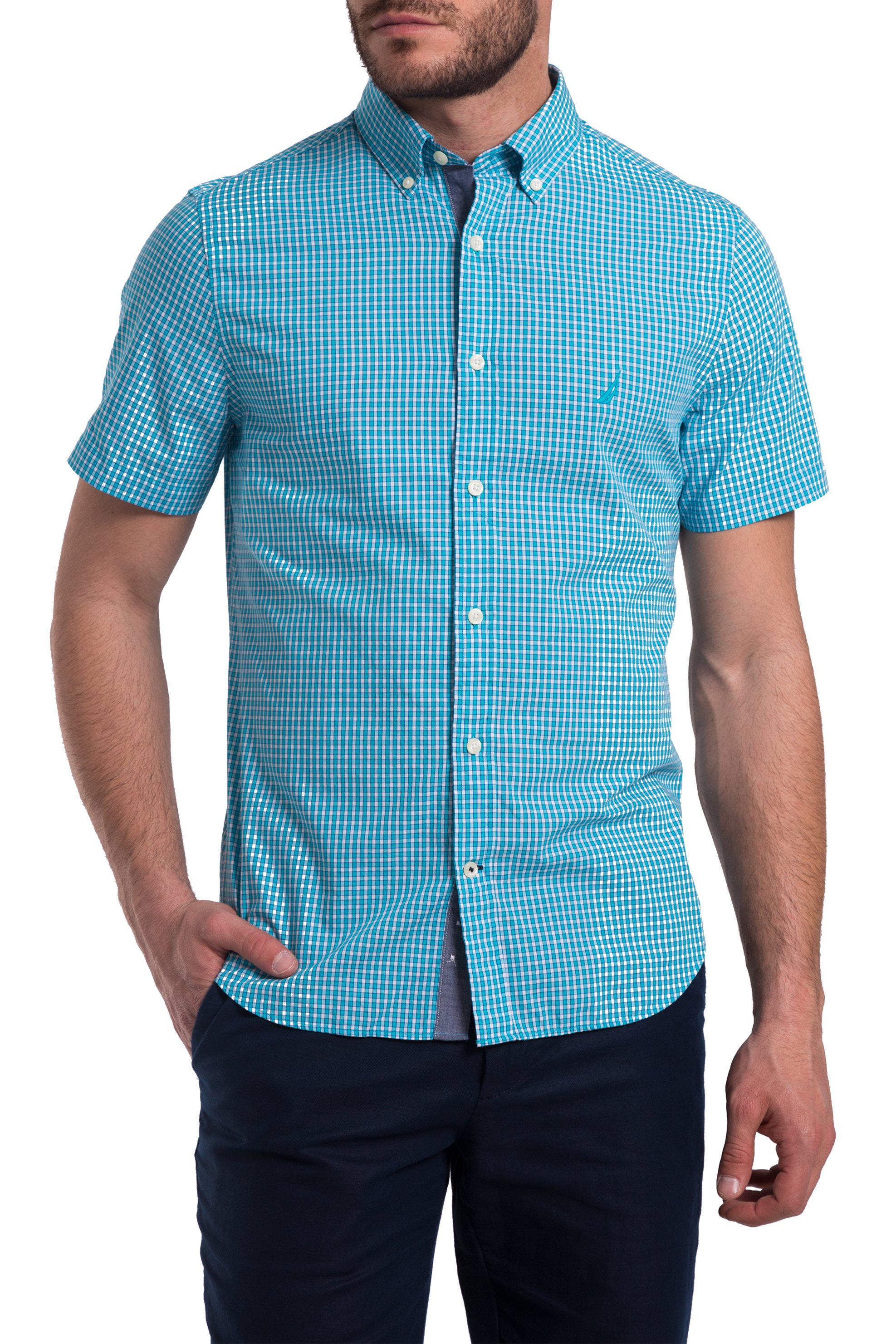 8c0b7182685b Ανδρικό καρό πουκάμισο με κοντά μανίκια Nautica - 81935W - Βεραμάν