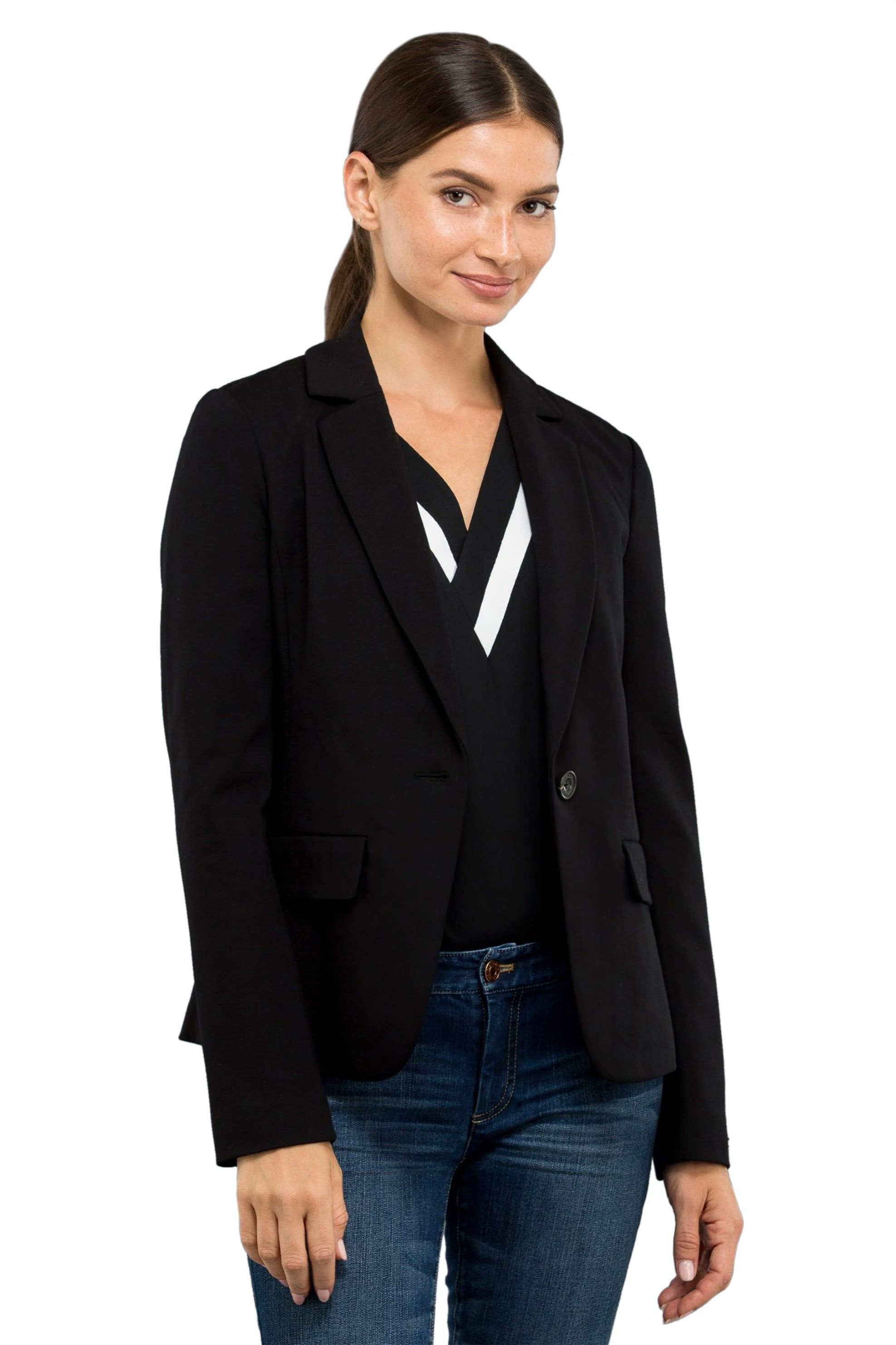 6c460d13f40c Notos Nautica γυναικείο κλασσικό σακάκι με ένα κουμπί - 83J241 - Μαύρο