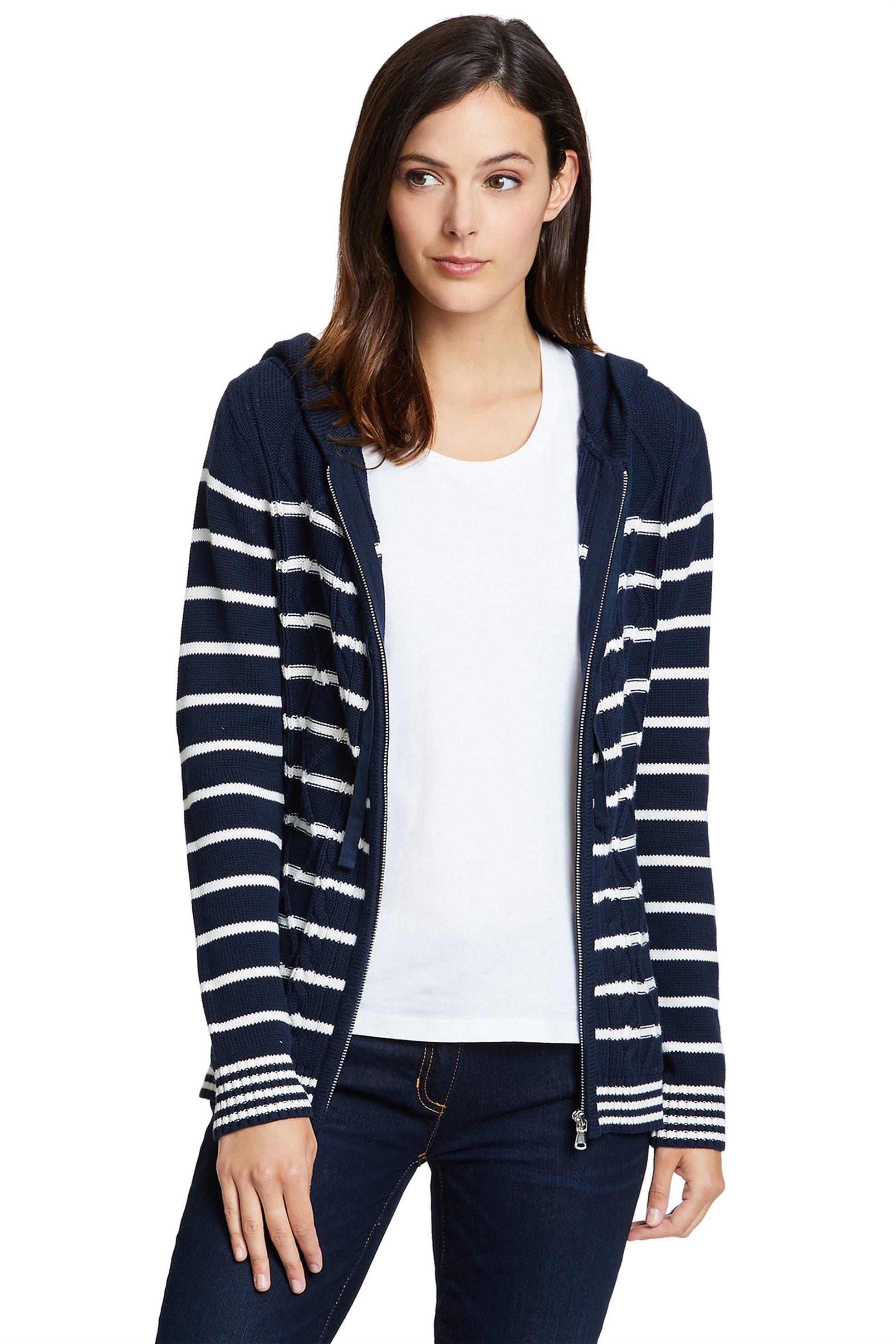 Nautica γυναικεία πλεκτή ριγέ ζακέτα με κουκούλα και φερμουάρ - 83S220 - Μπλε Σκ γυναικα   ρουχα   πλεκτά   ζακέτες