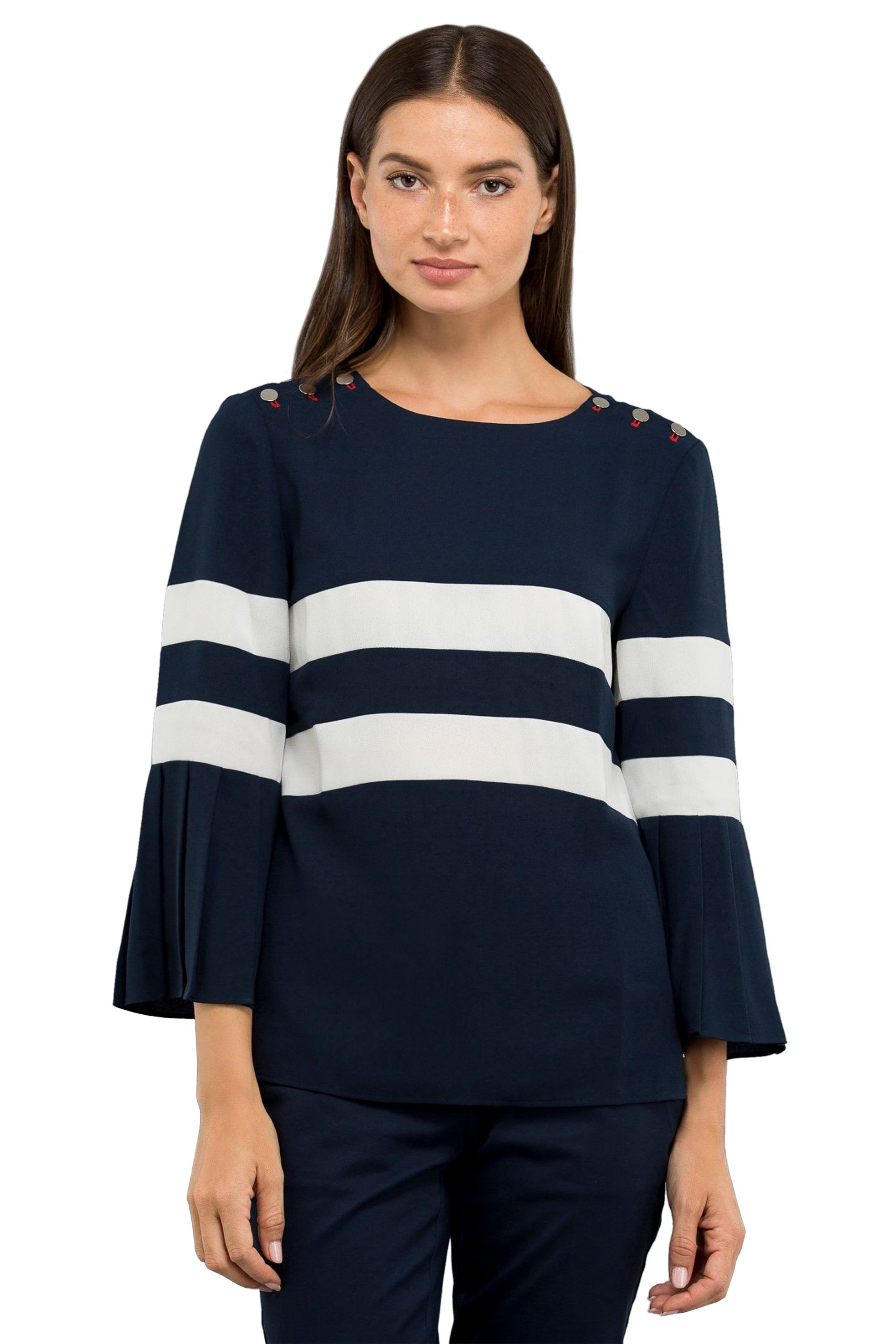 Nautica γυναικεία μπλούζα με κουμπιά στους ώμους και μανίκι 3/4 με πιέτες - 83W2 γυναικα   ρουχα   tops   μπλούζες   casual