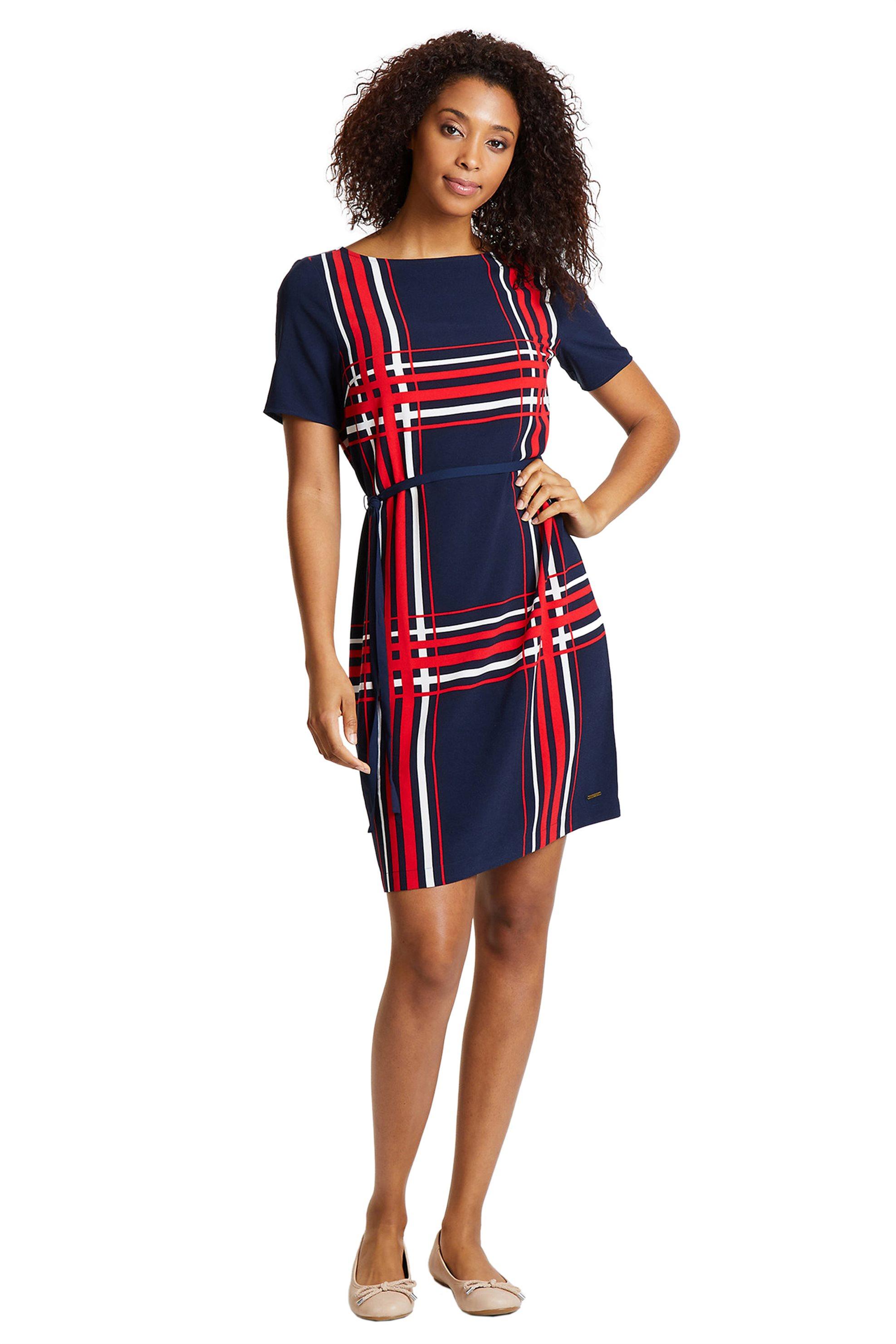 Nautica γυναικείο mini φόρεμα με ριγέ σχέδιο και ζωνάκι - 84D212 - Μπλε Σκούρο γυναικα   ρουχα   φορέματα   mini φορέματα