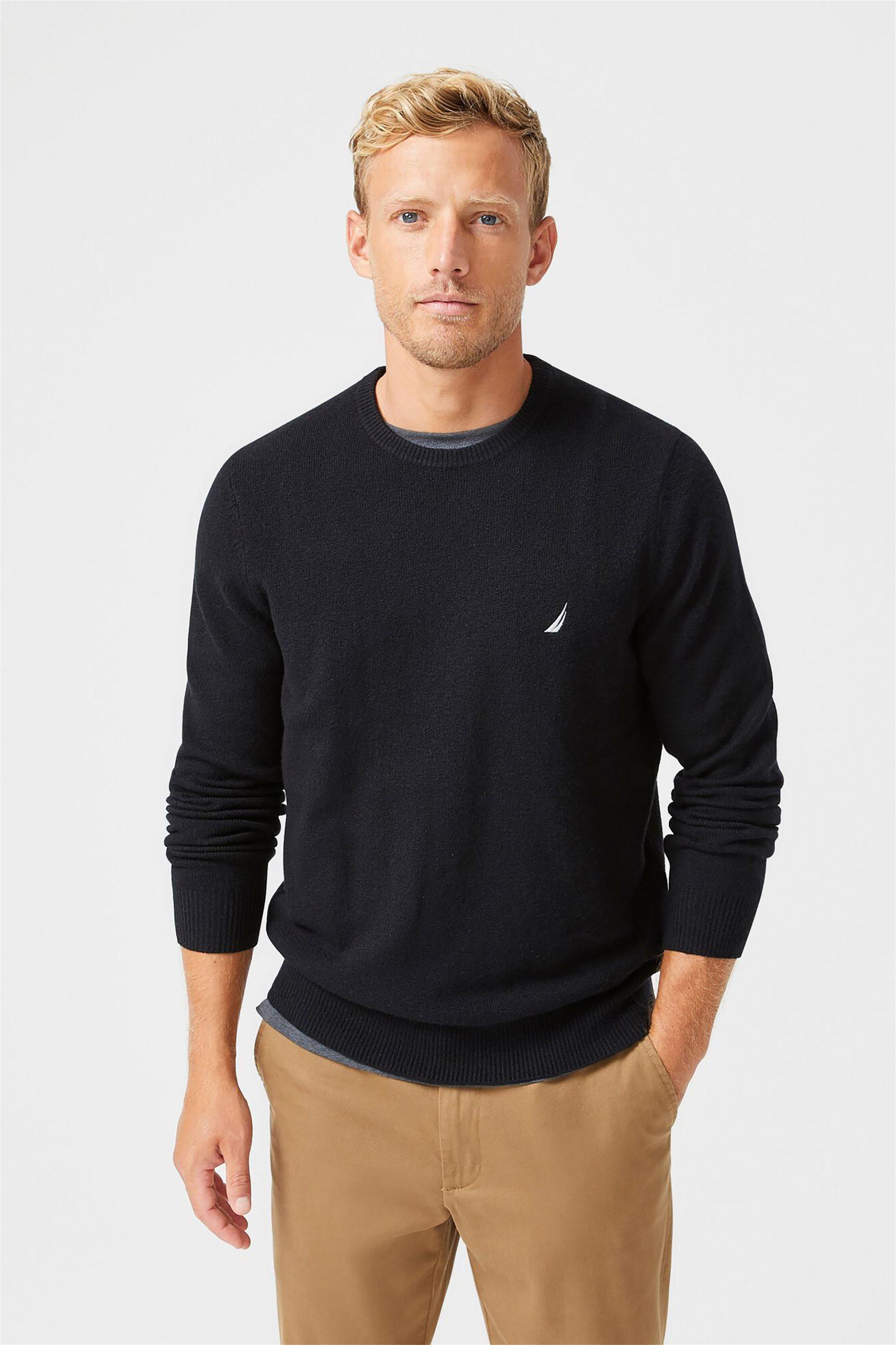 Nautica ανδρικό πουλόβερ μονόχρωμο με στρογγυλή λαιμόκοψη - S03100 - Μαύρο