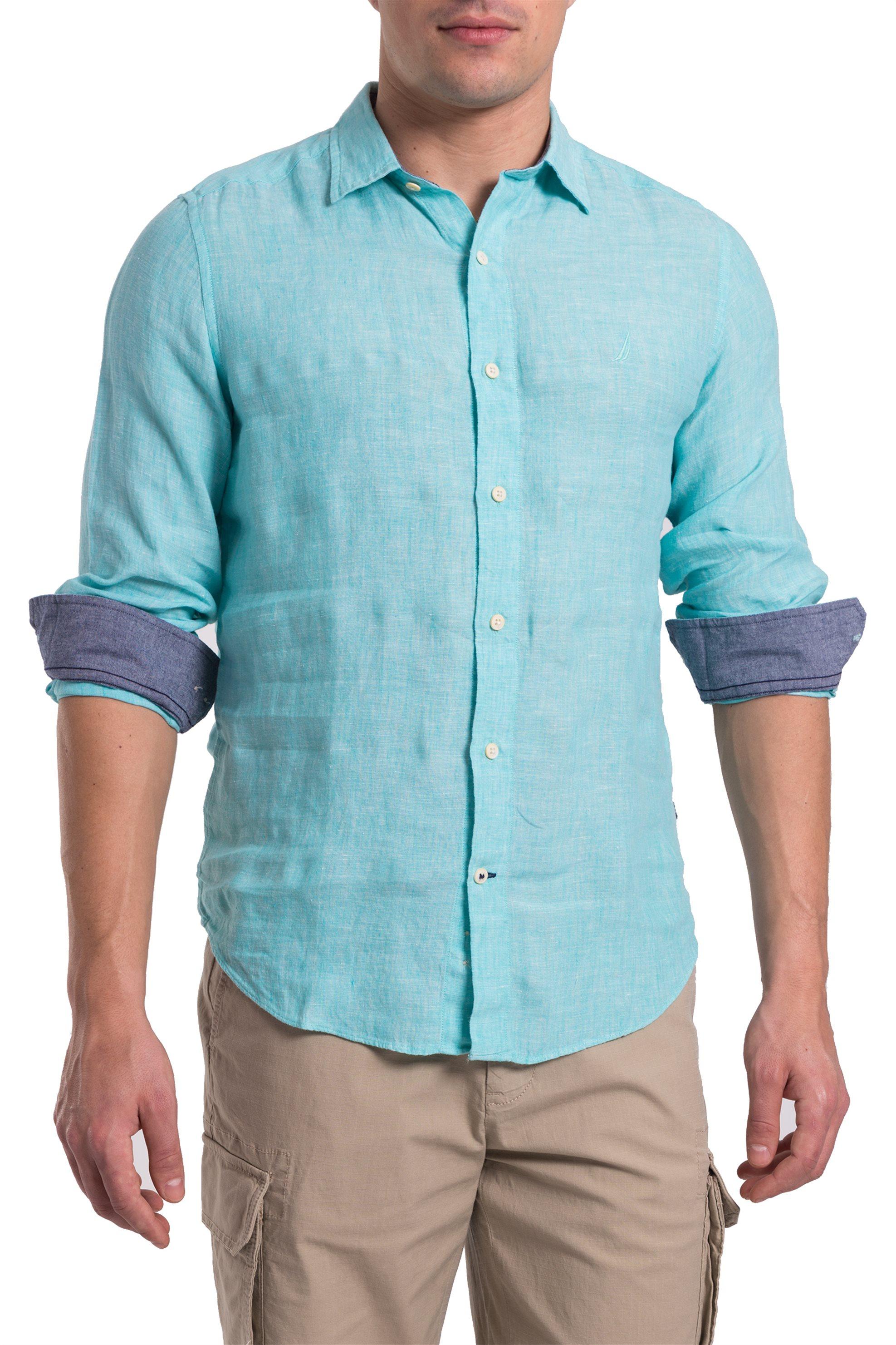 fc91b9e50620 Notos Ανδρικό μονόχρωμο πουκάμισο Nautica - W74112 - Βεραμάν