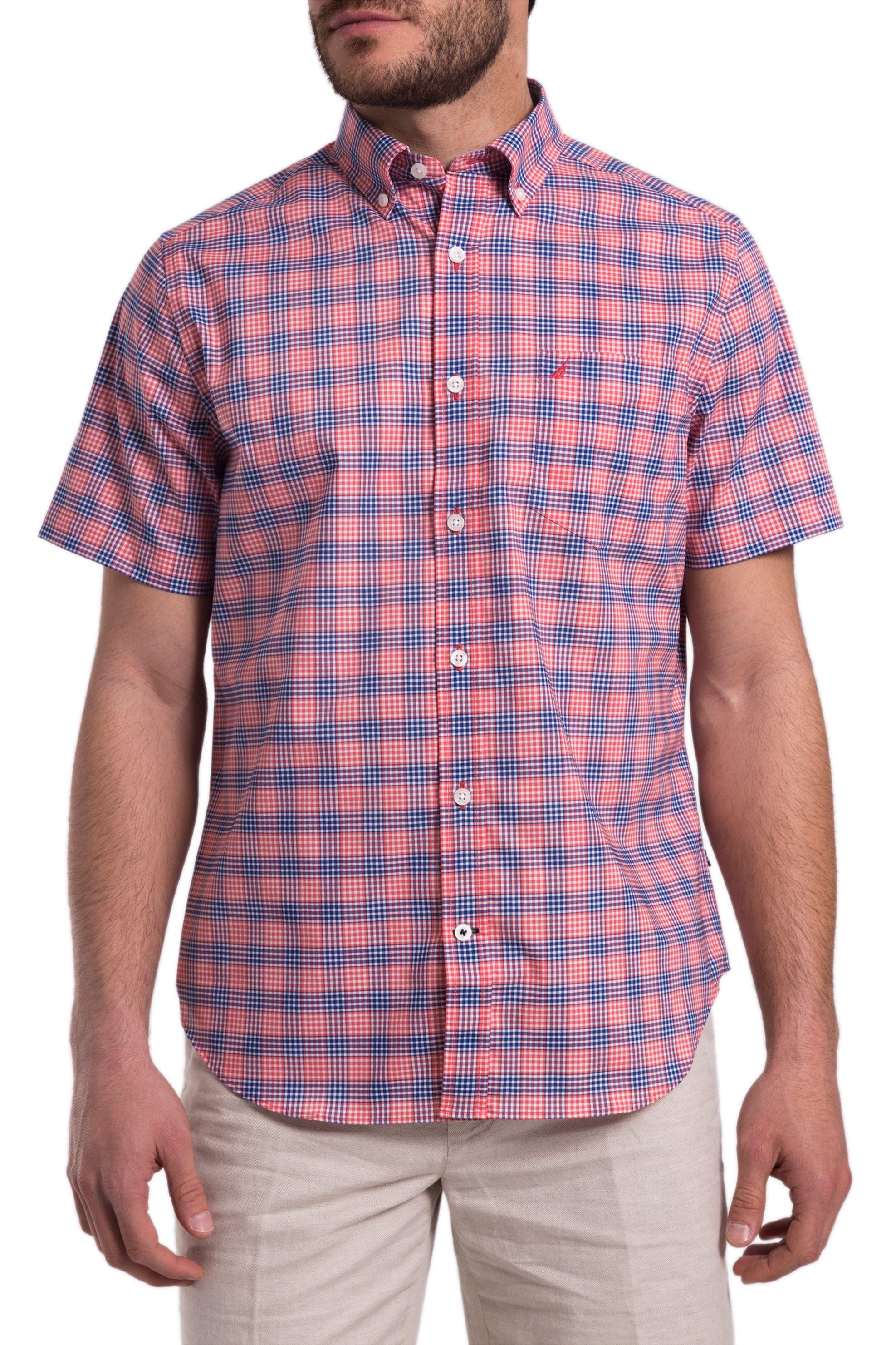 b3aab858ac05 Notos Ανδρικό καρό πουκάμισο με κοντά μανίκια Nautica - W81272 - Κόκκινο