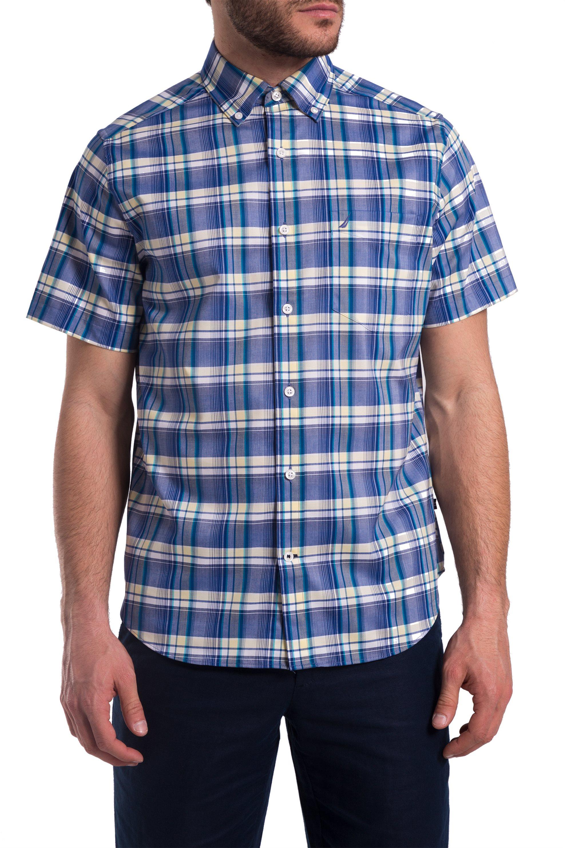 c5d293e77aa3 Ανδρικό καρό πουκάμισο με κοντά μανίκια Nautica - W81274 - Μπλε