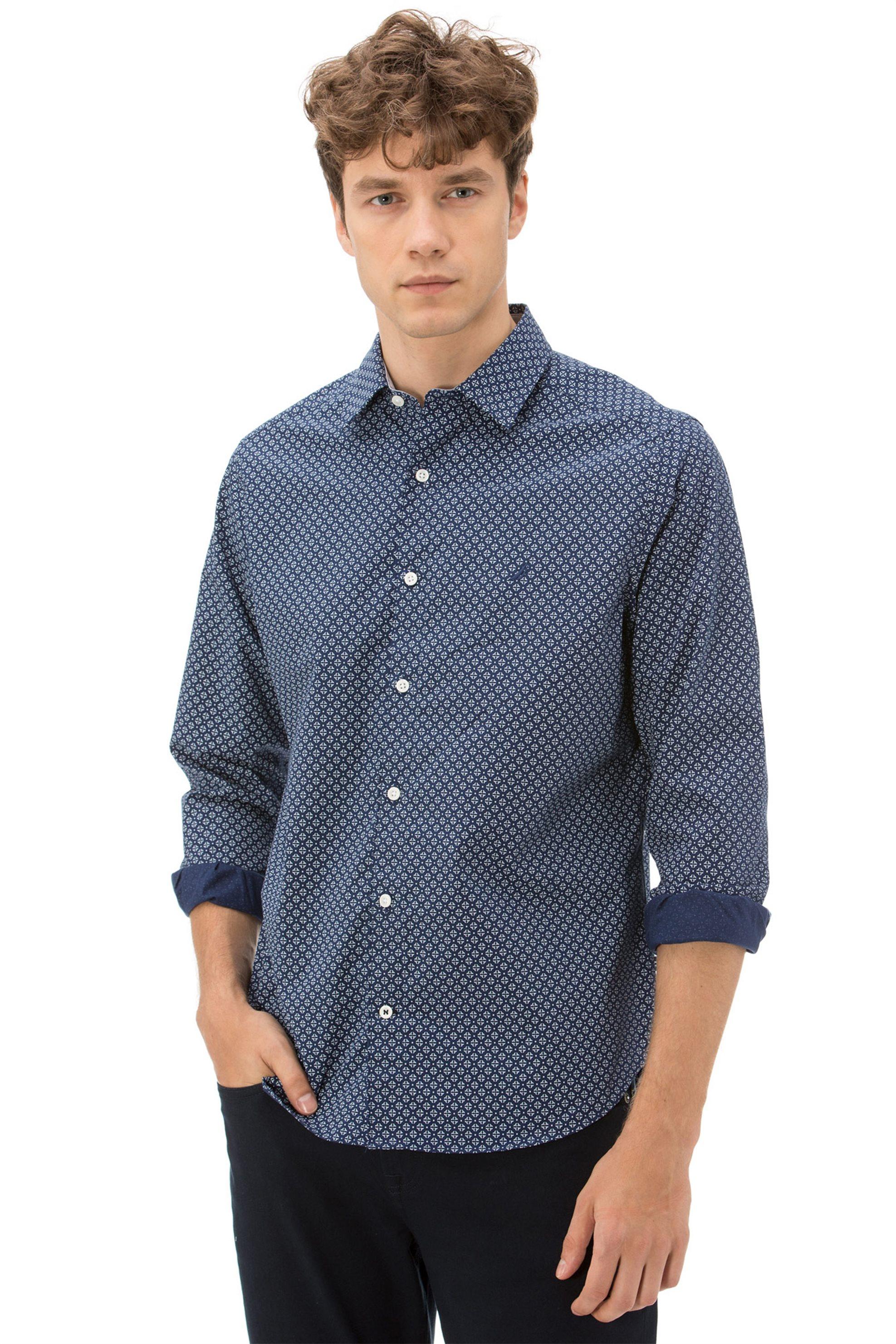 1c120e8cb2cd Notos Nautica ανδρικό πουκάμισο με μικροσχέδιο all-over - W83958 - Μπλε  Σκούρο
