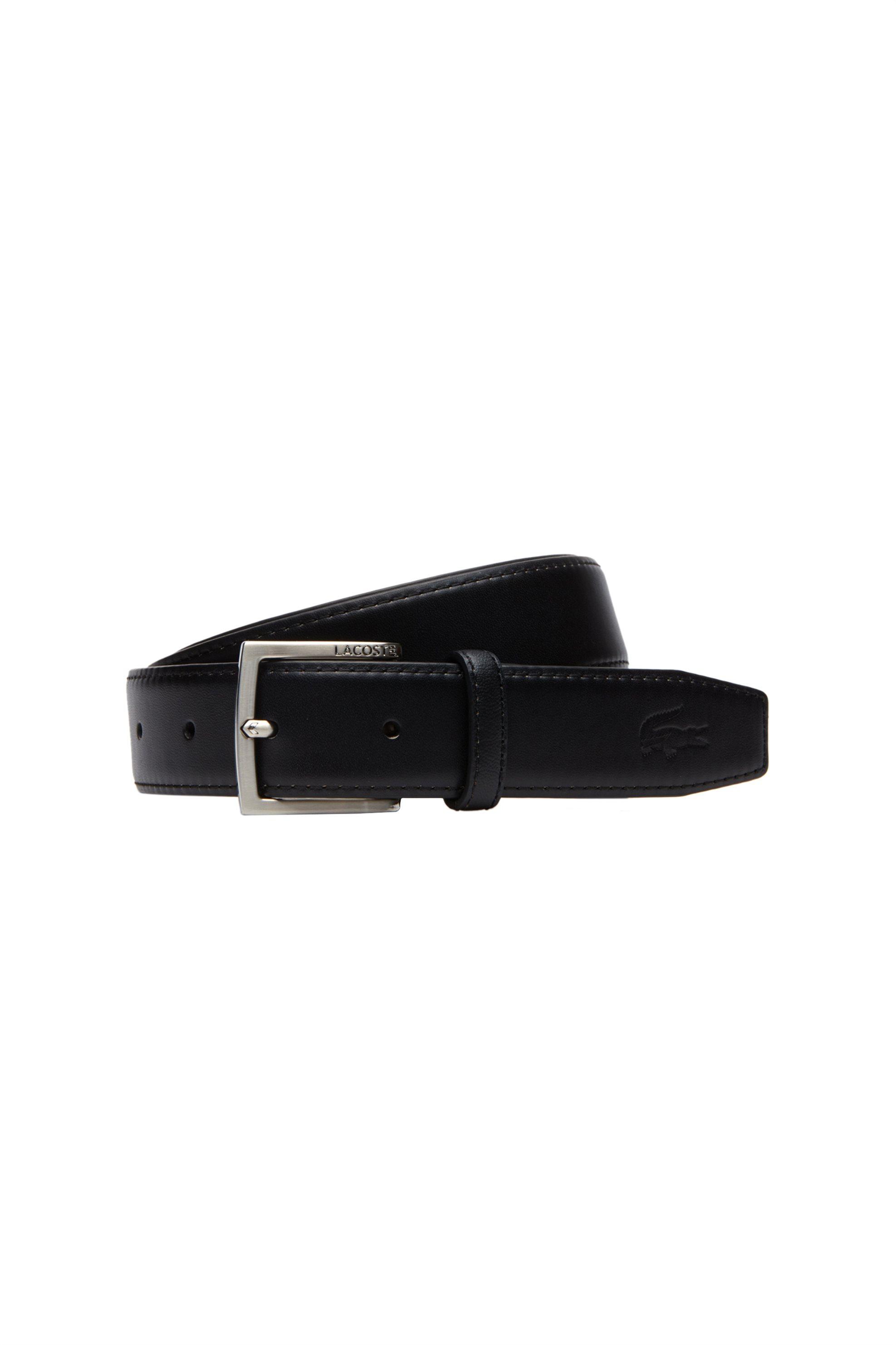 Lacosteανδρική ζώνη Engraved Tongue Buckle Leather Belt - RC1694 - Μαύρο ανδρασ   αξεσουαρ   ζώνες