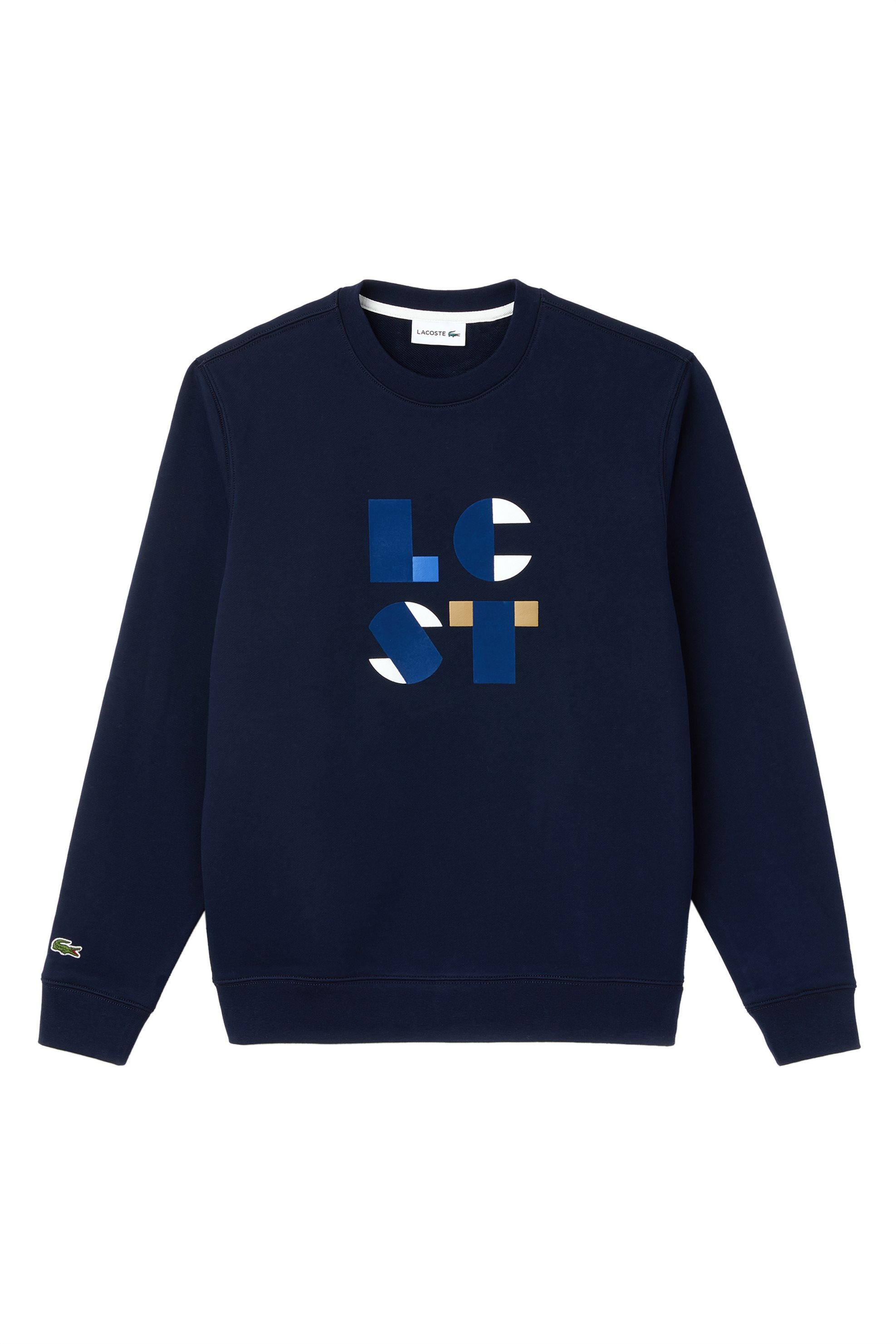 586175cd454 Lacoste ανδρικό φούτερ μονόχρωμο με LCST logo - SH9219 - Μπλε Σκούρο